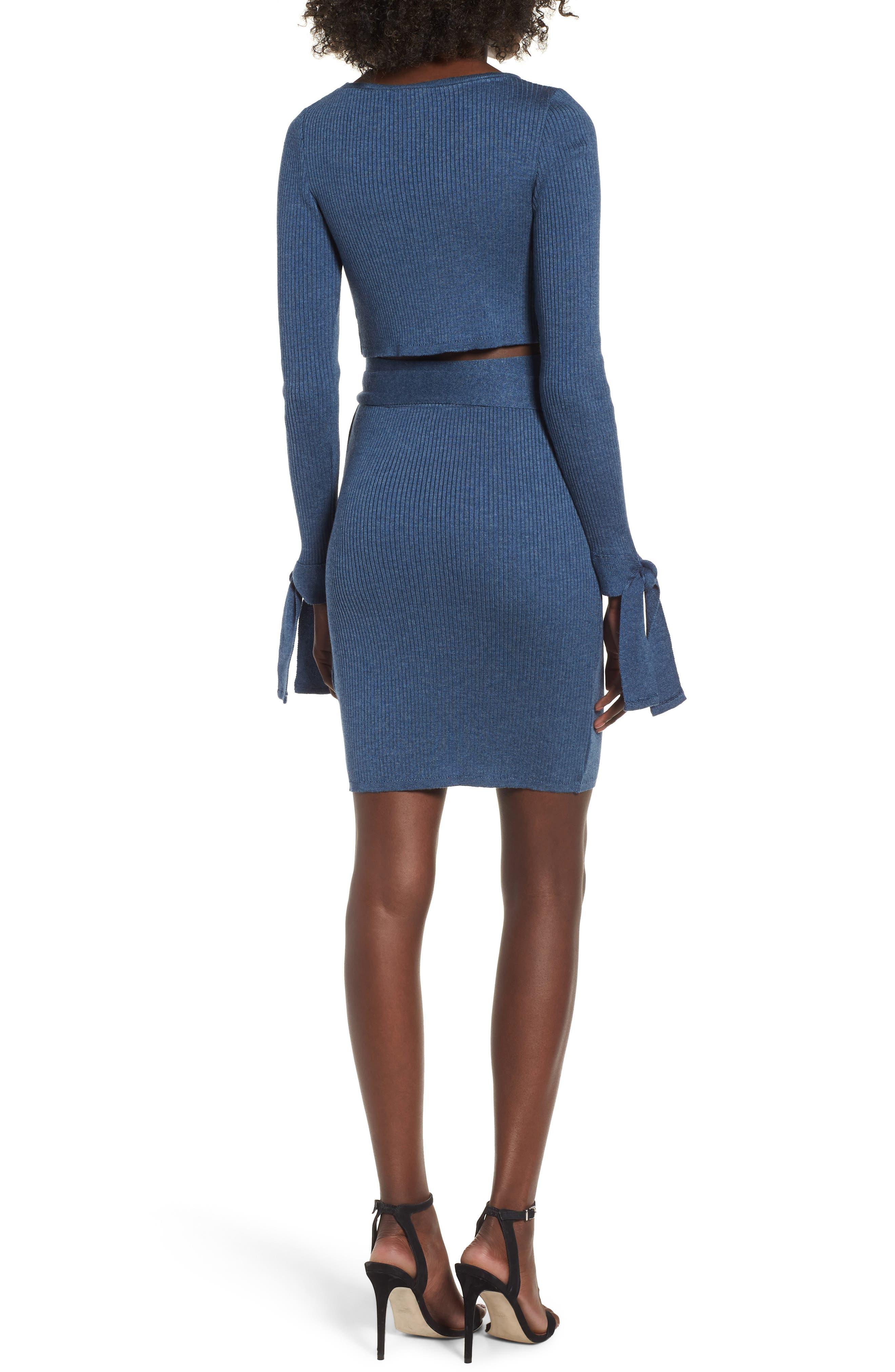 Cutout Body-Con Dress,                             Alternate thumbnail 3, color,                             Blue