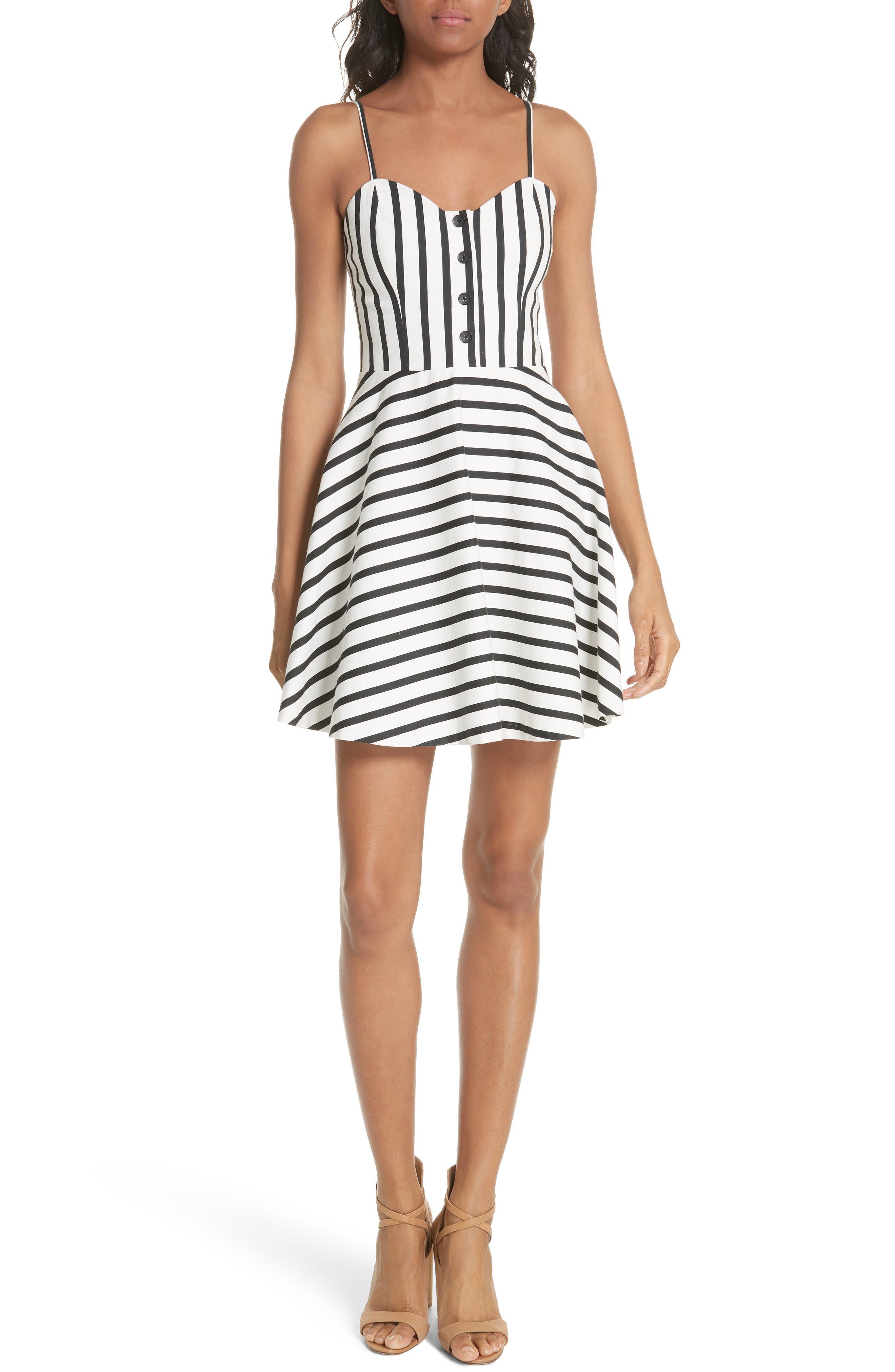 Nella Button Front Stripe Dress,                             Main thumbnail 1, color,                             Monochrome Stripe