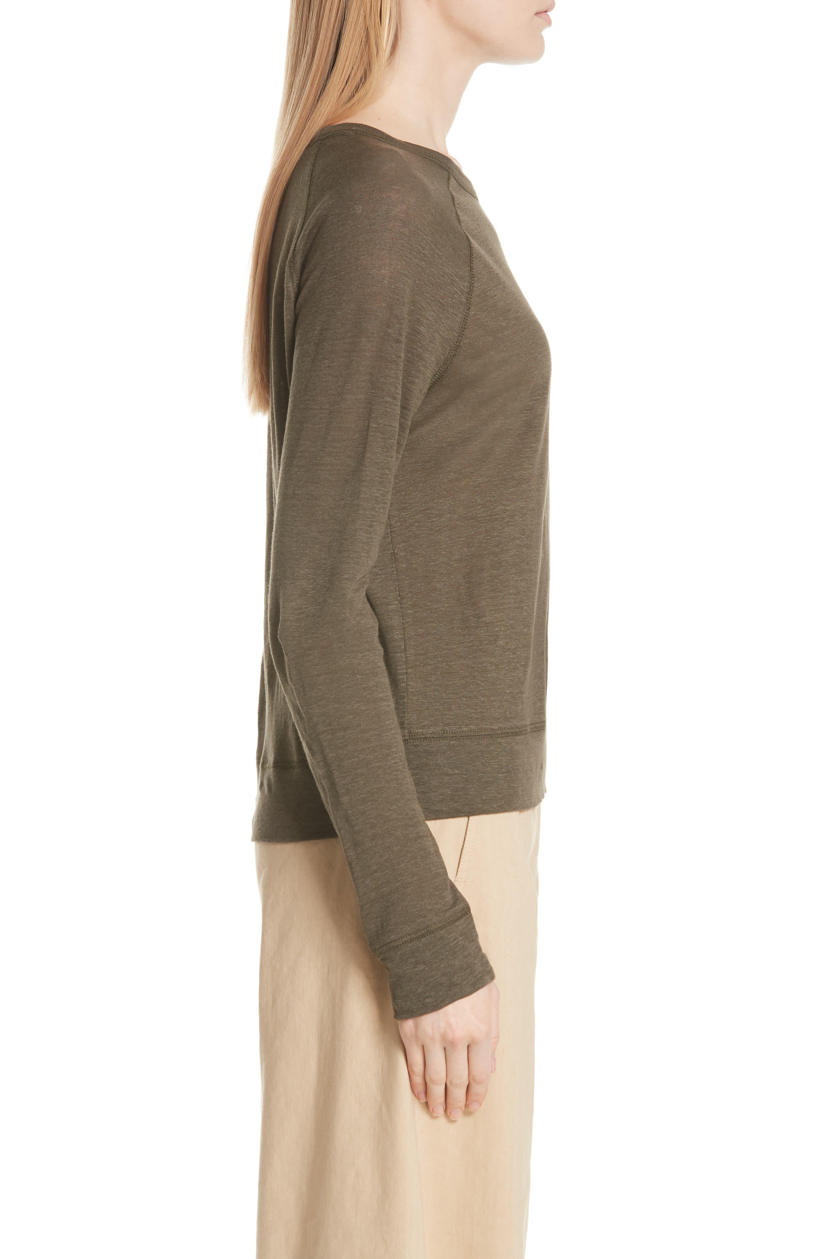 Linen Pullover,                             Alternate thumbnail 3, color,                             Bayleaf
