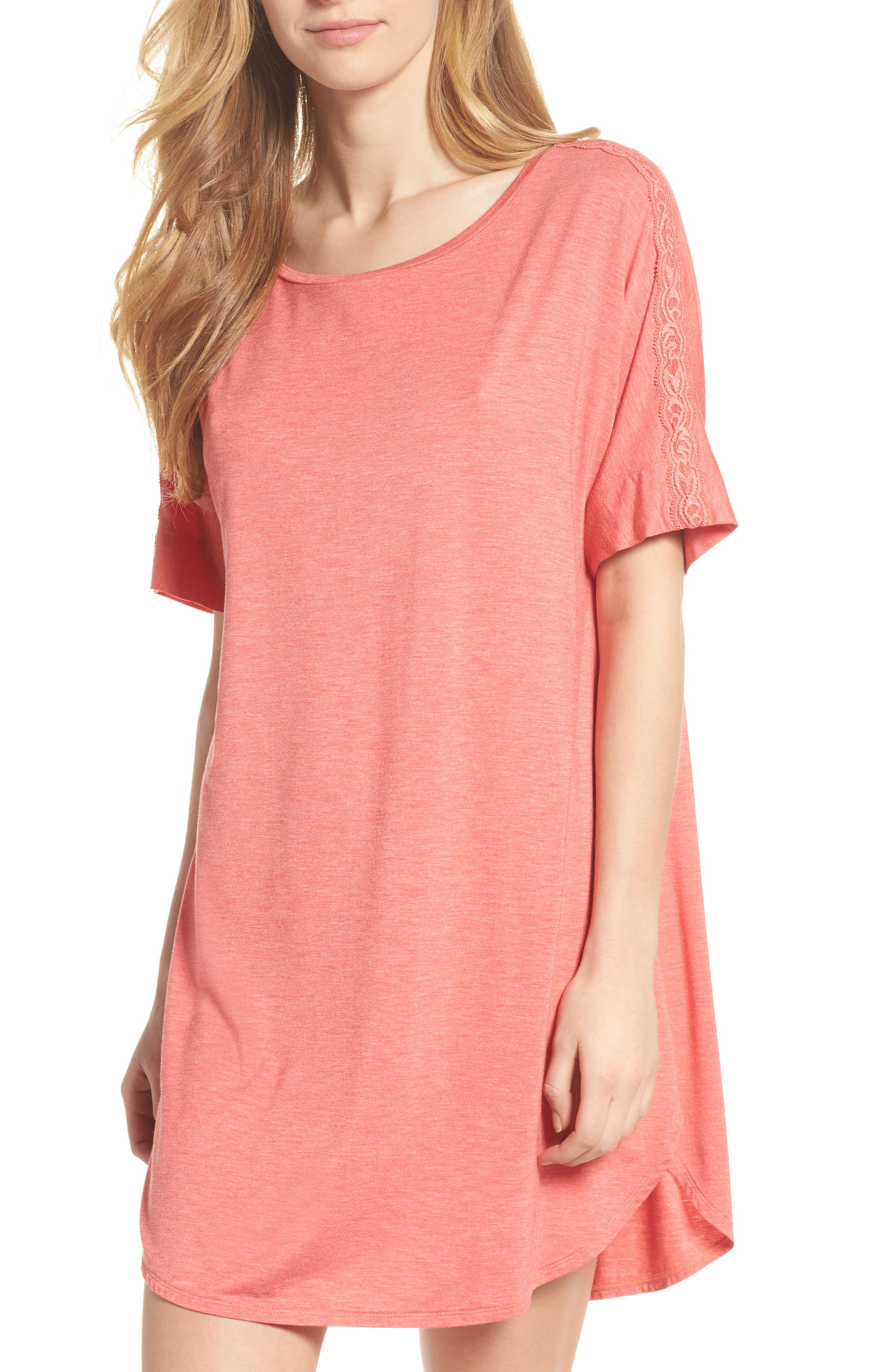 Feathers Essential Sleep Shirt,                             Main thumbnail 1, color,                             Coral