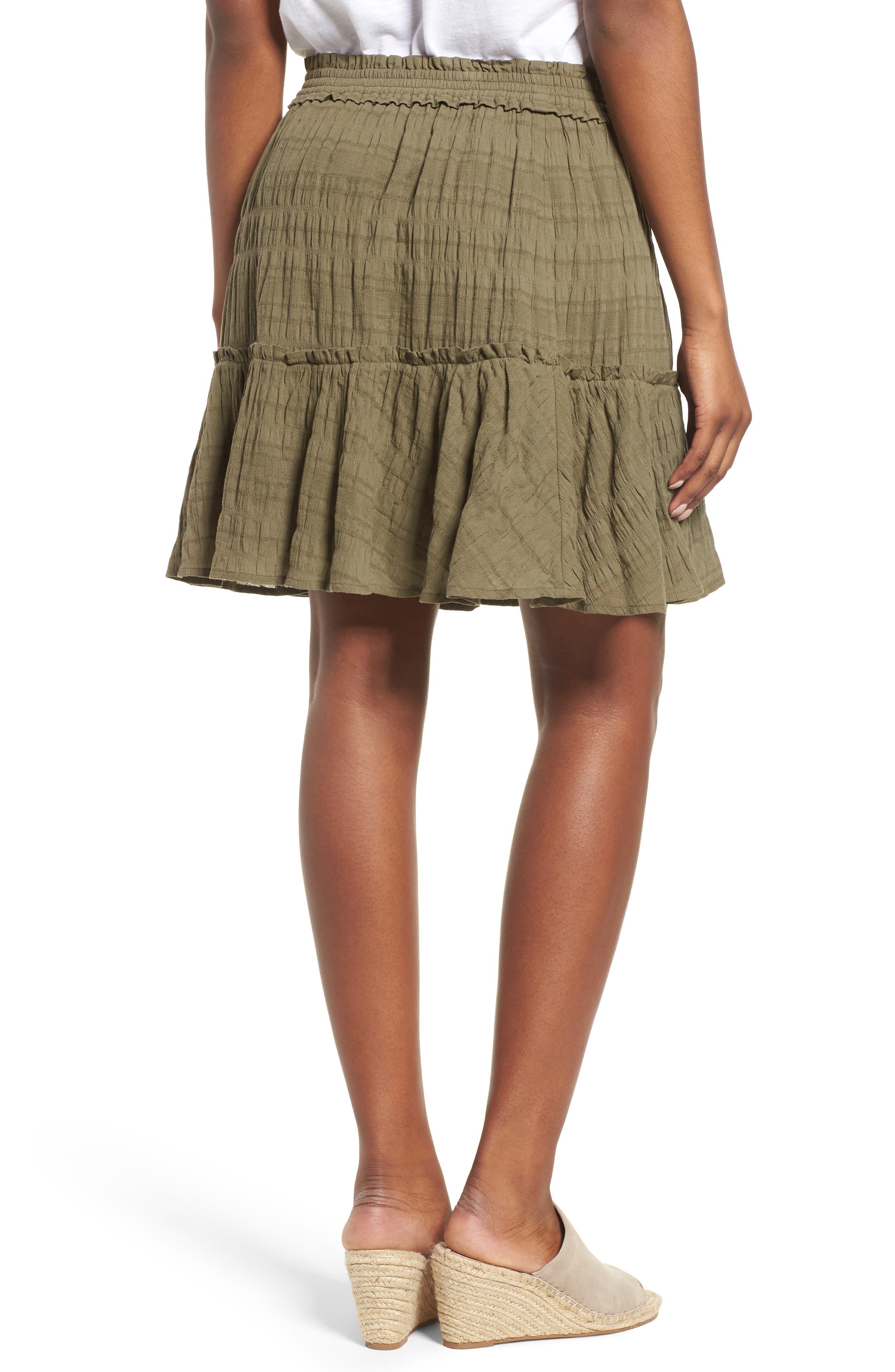 Smocked Stretch Cotton Mini Skirt,                             Alternate thumbnail 2, color,                             Olive Kalamata