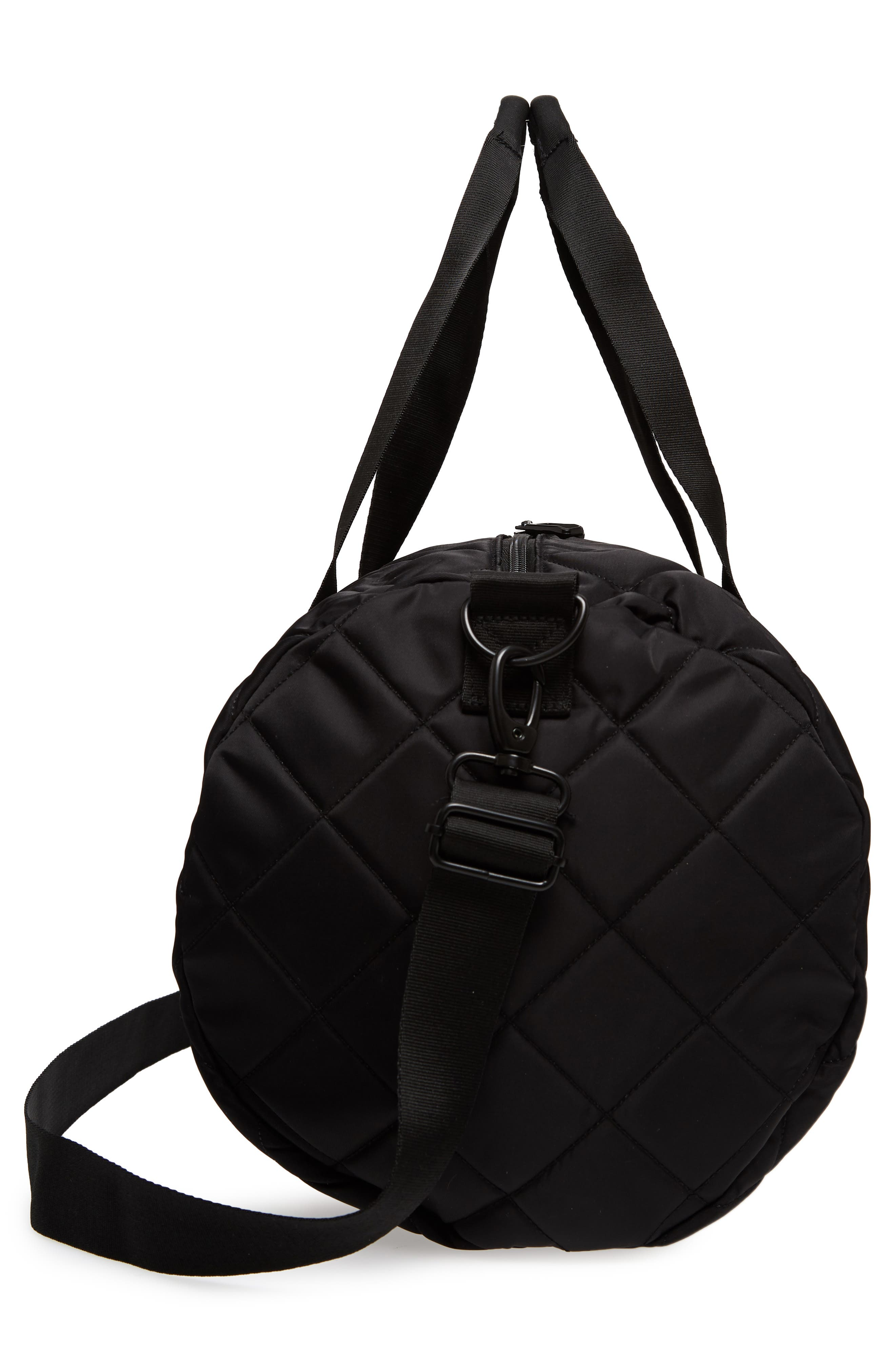 Roadie Small Duffel Bag,                             Alternate thumbnail 5, color,                             Quilted Black Nylon