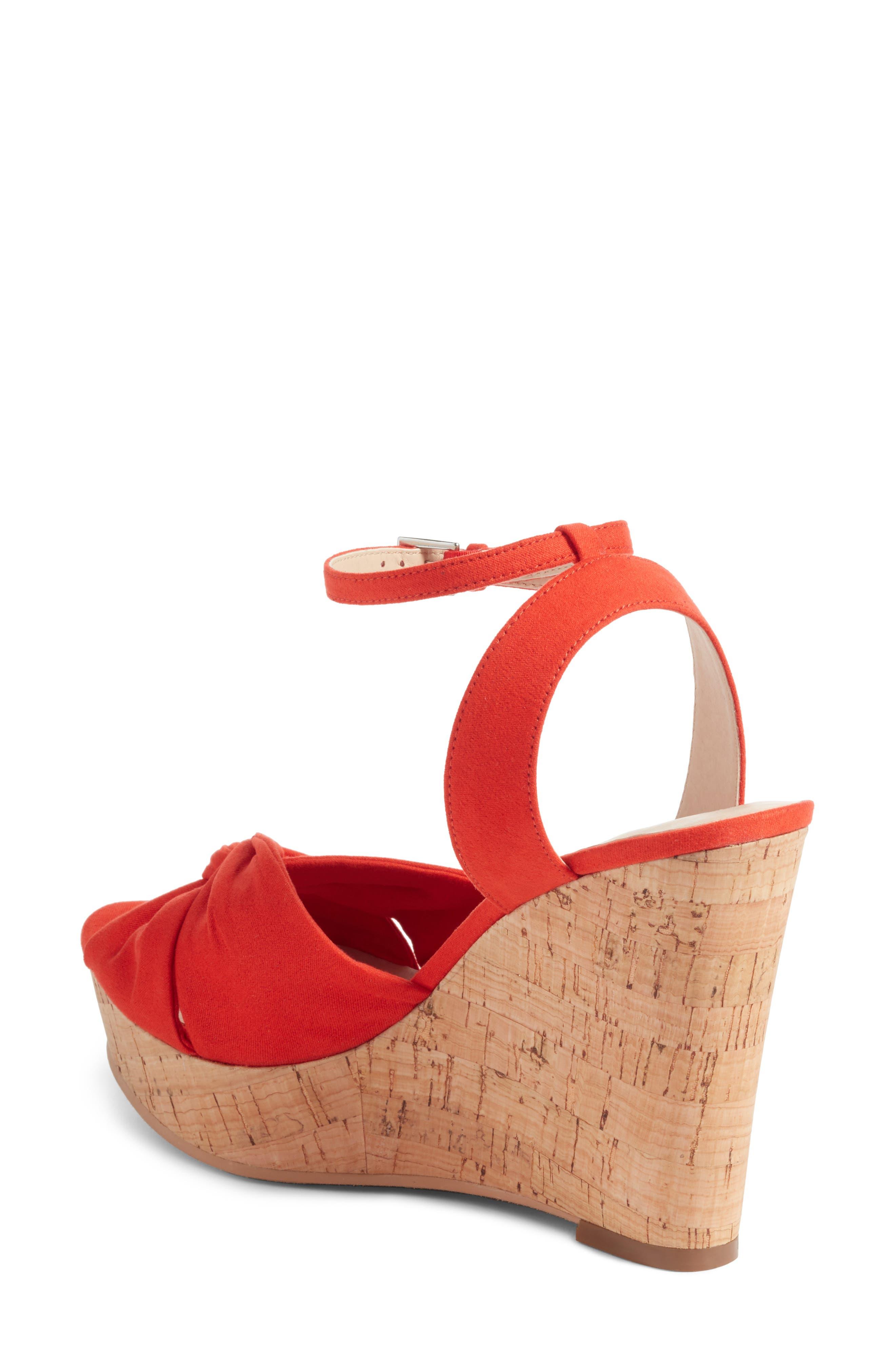 Arya Platform Wedge Sandal,                             Alternate thumbnail 2, color,                             Poppy Faux Suede