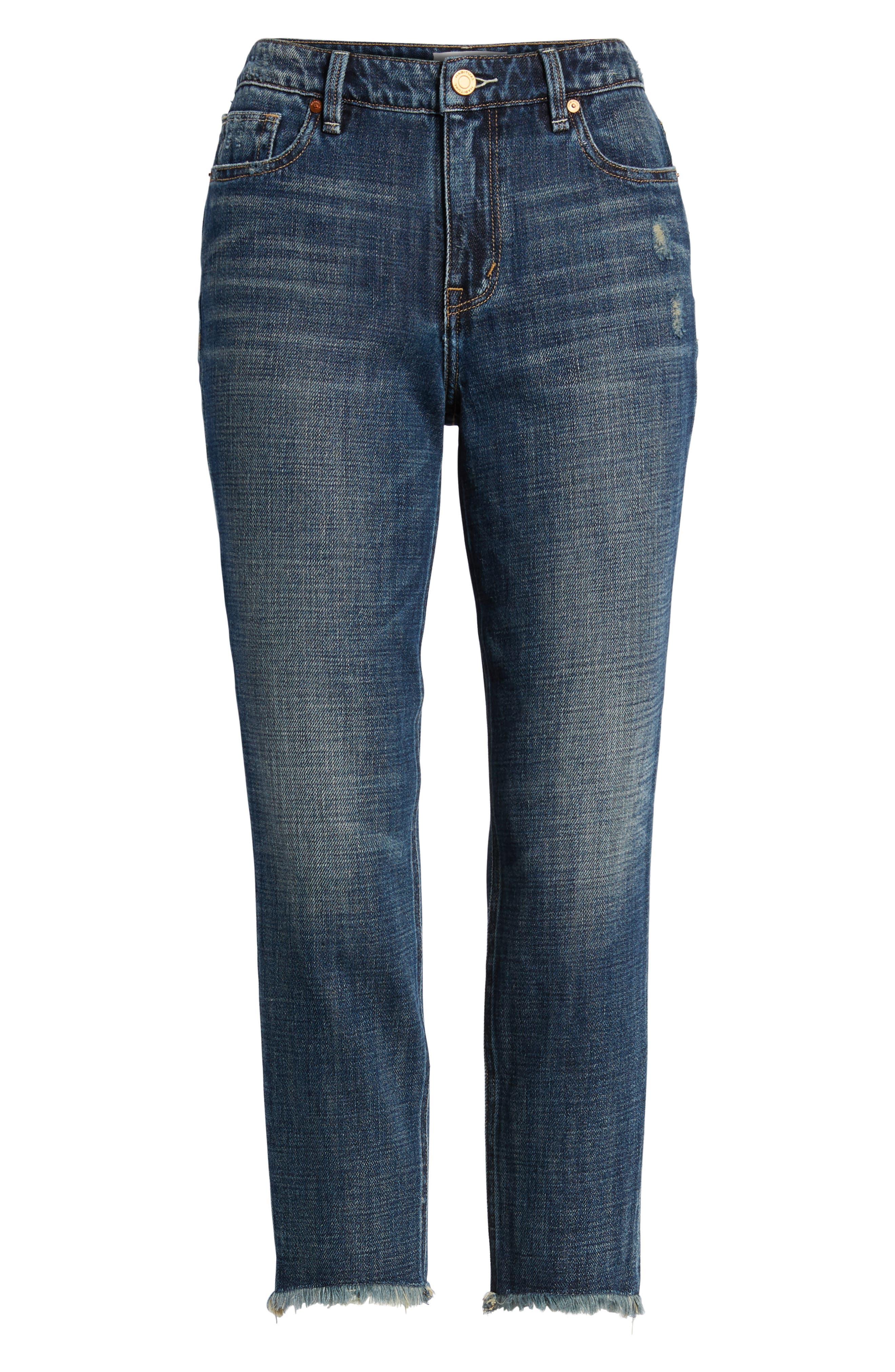 Vale Slant Fray Hem Jeans,                             Alternate thumbnail 7, color,                             Balsam