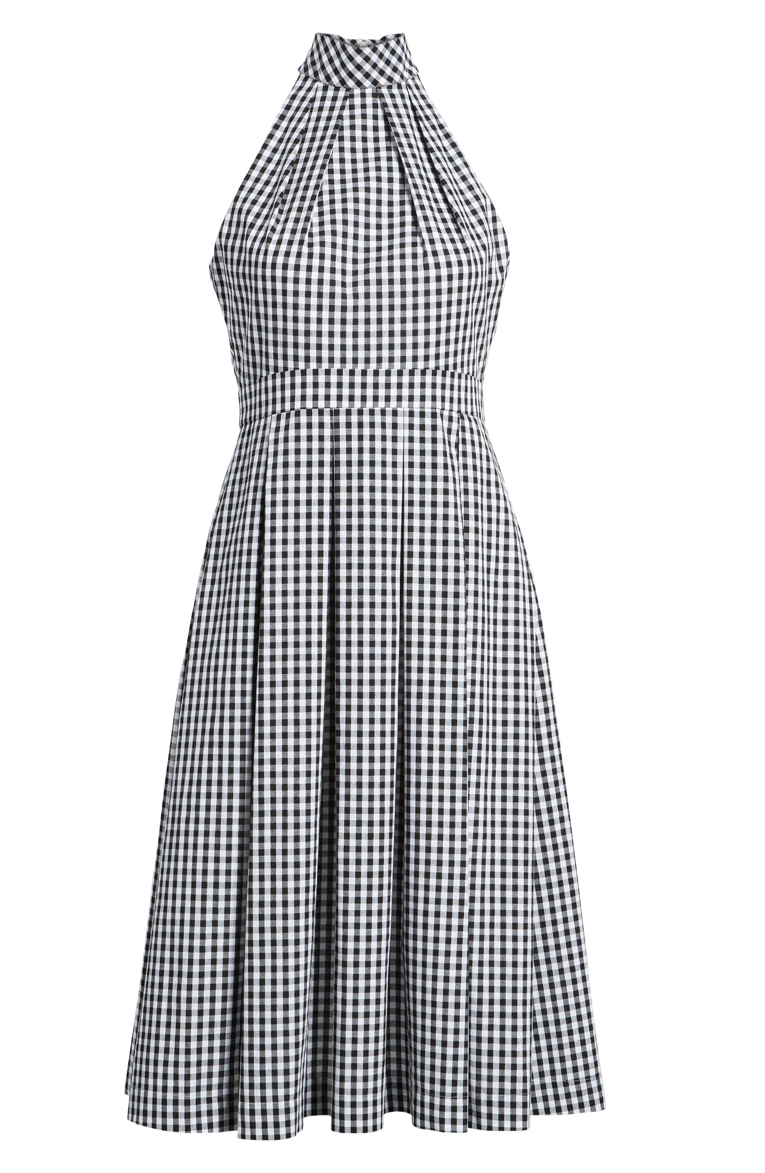 Gingham Halter Dress,                             Alternate thumbnail 7, color,                             Black- White Gingham