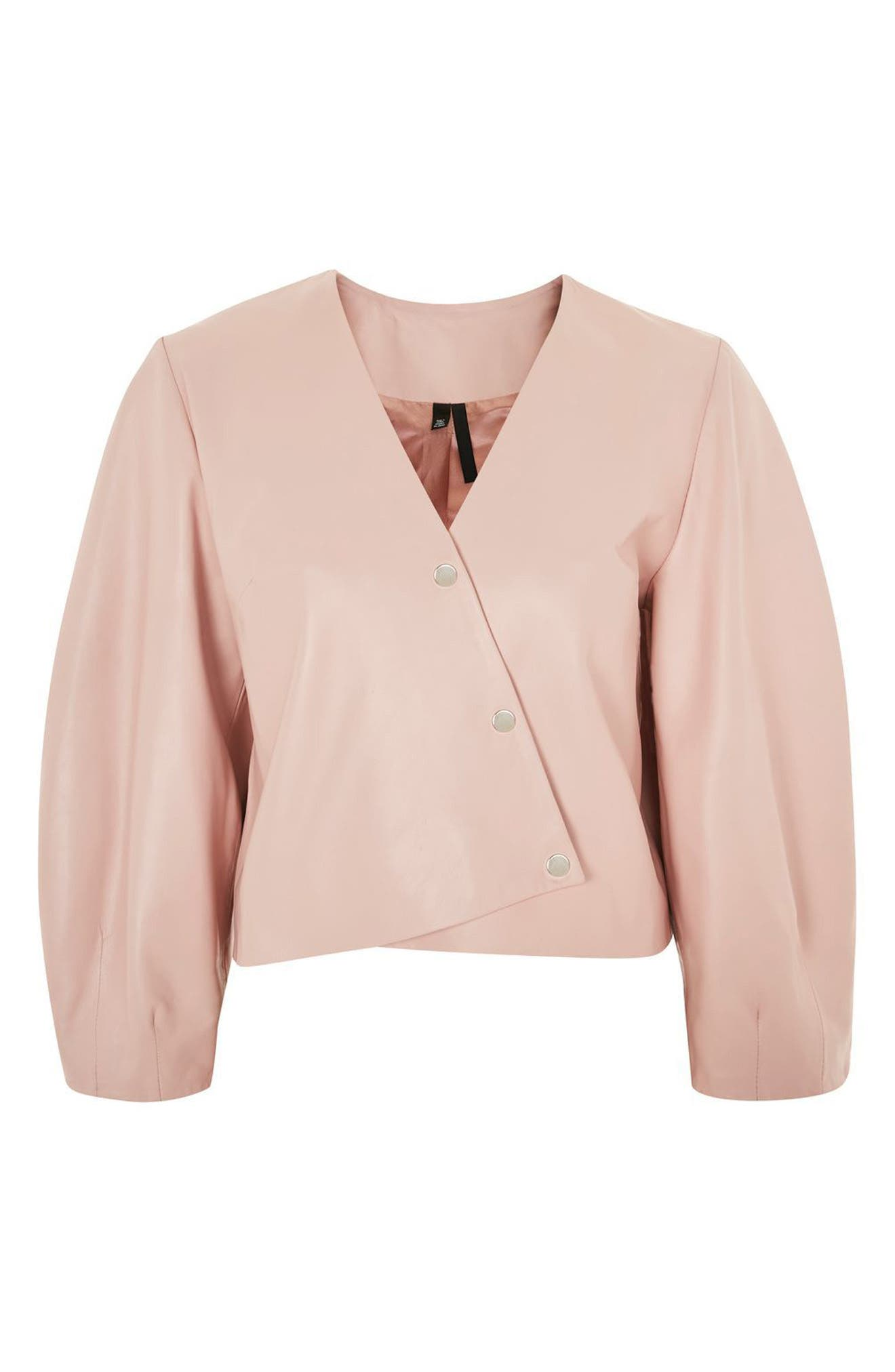Leather Puff Sleeve Wrap Top,                         Main,                         color, Pink