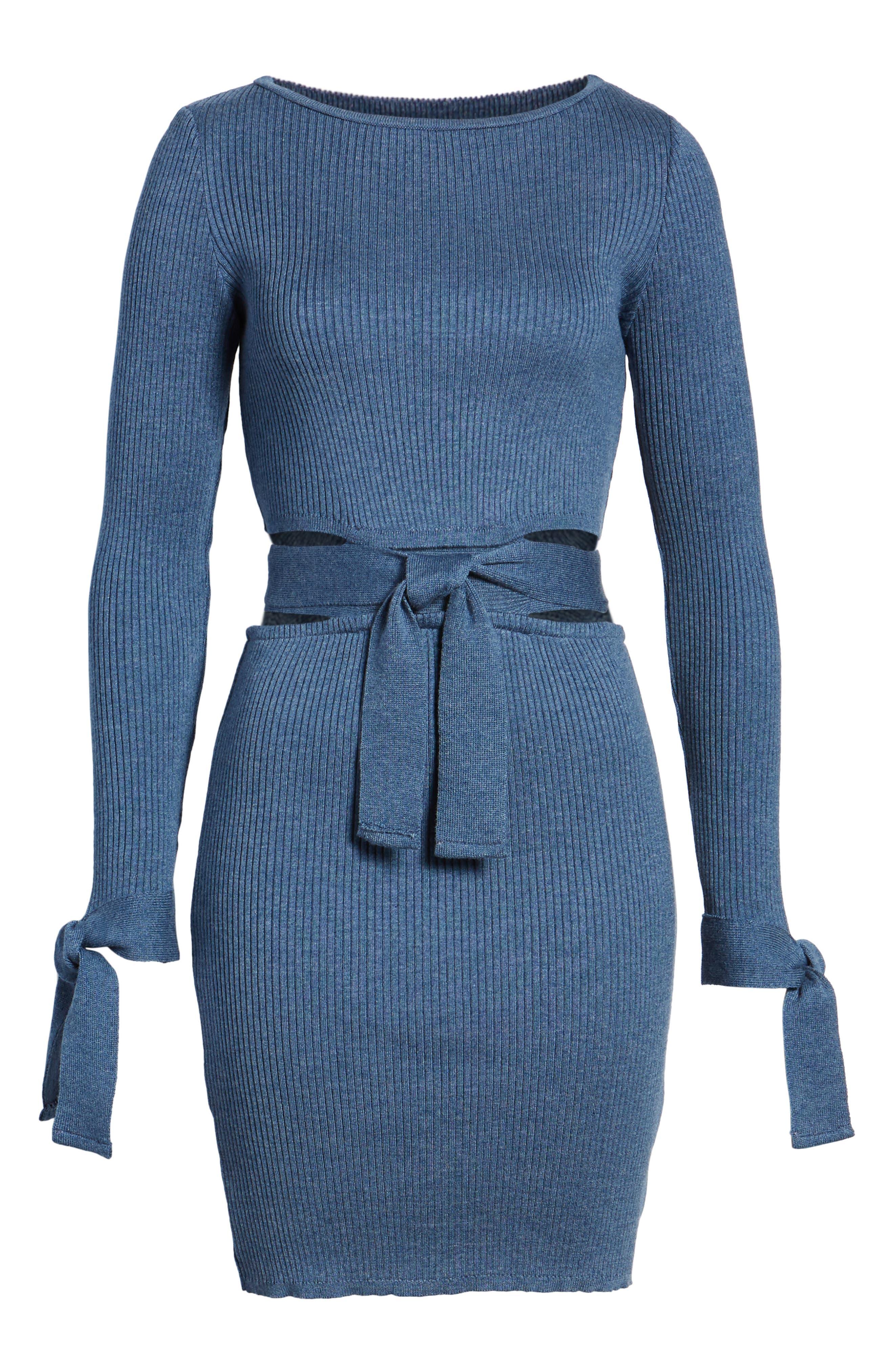 Cutout Body-Con Dress,                             Alternate thumbnail 8, color,                             Blue
