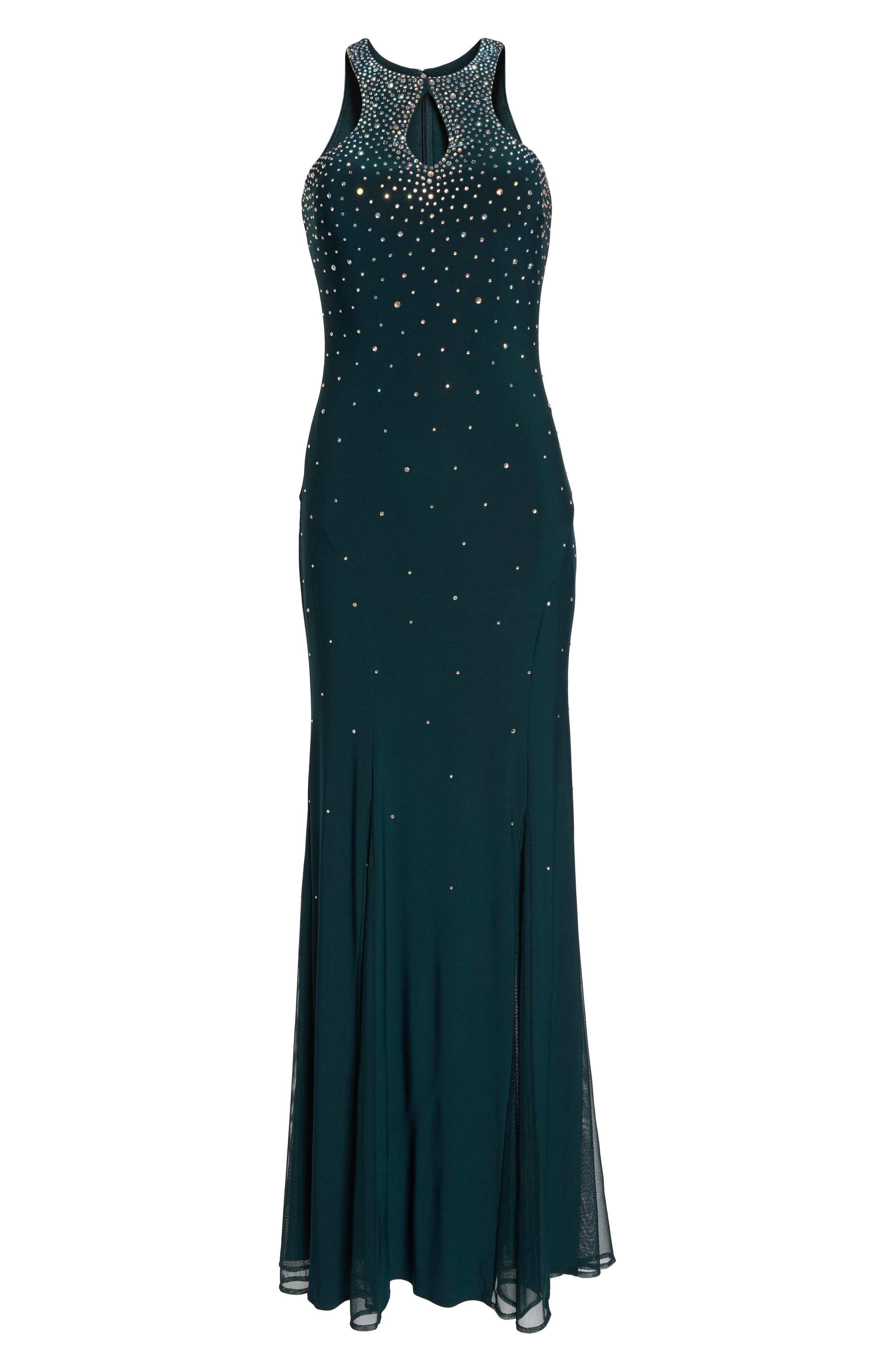 Embellished Keyhole Trumpet Gown,                             Alternate thumbnail 6, color,                             Dark Green