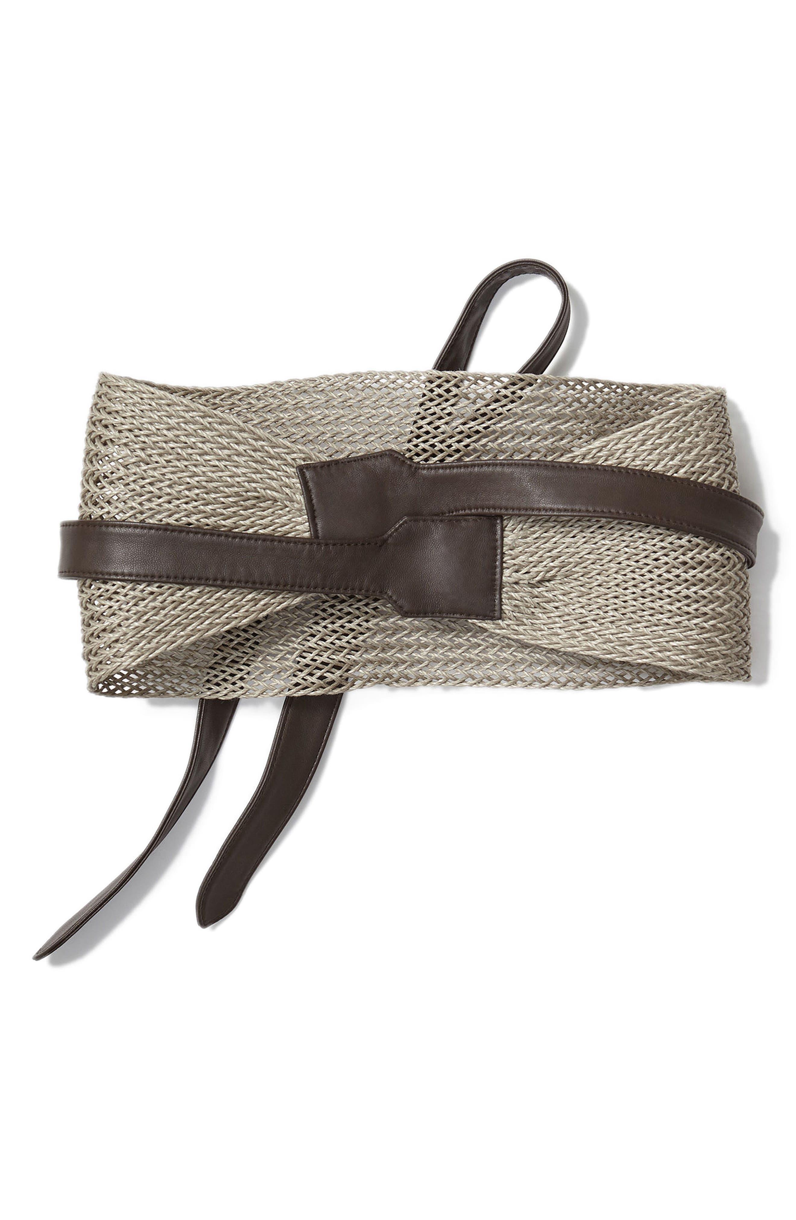 Obi Linen & Leather Belt,                             Alternate thumbnail 2, color,                             Nightingale