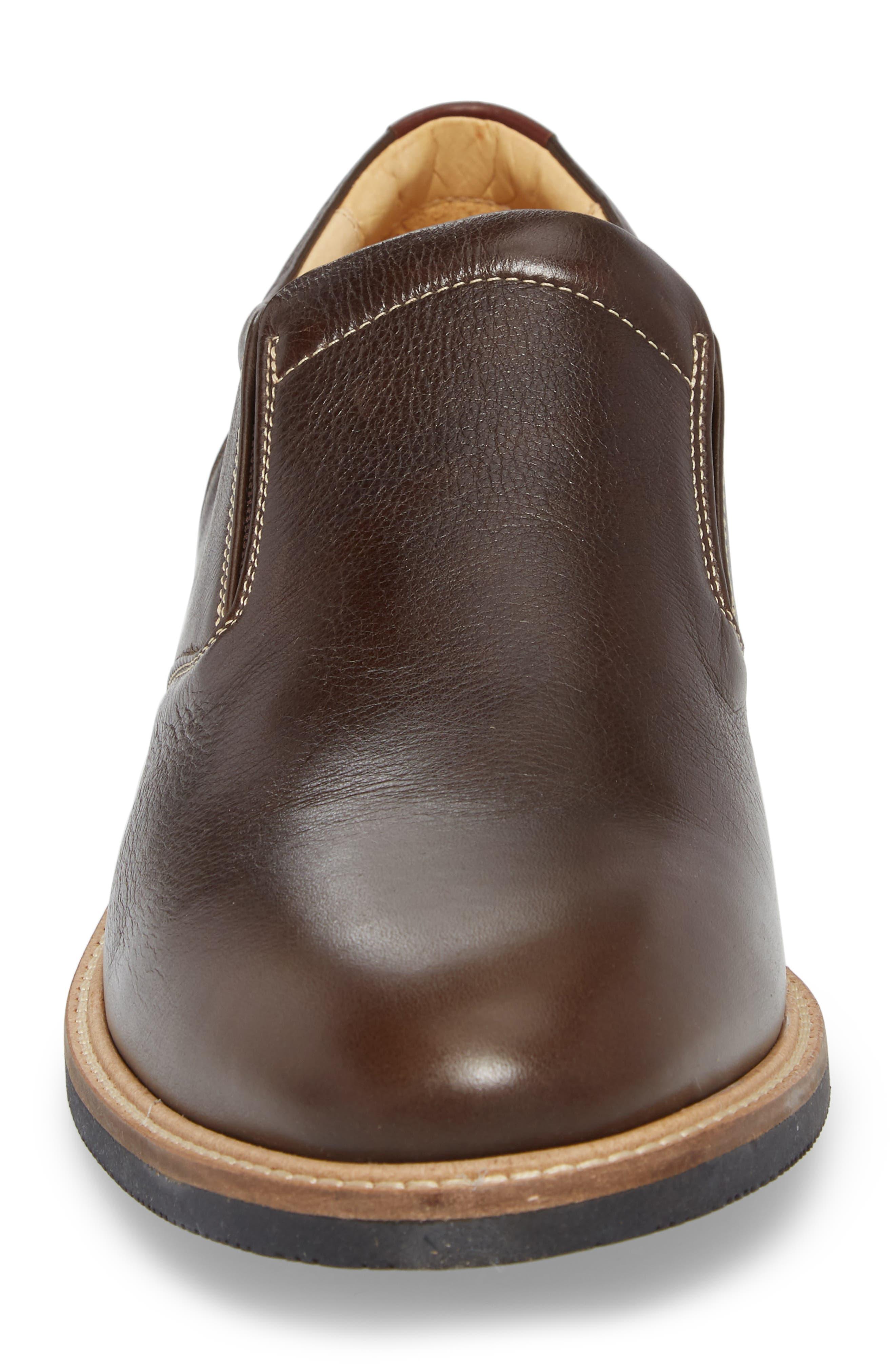 Barlow Plain Toe Slip-On,                             Alternate thumbnail 4, color,                             Dark Brown Leather