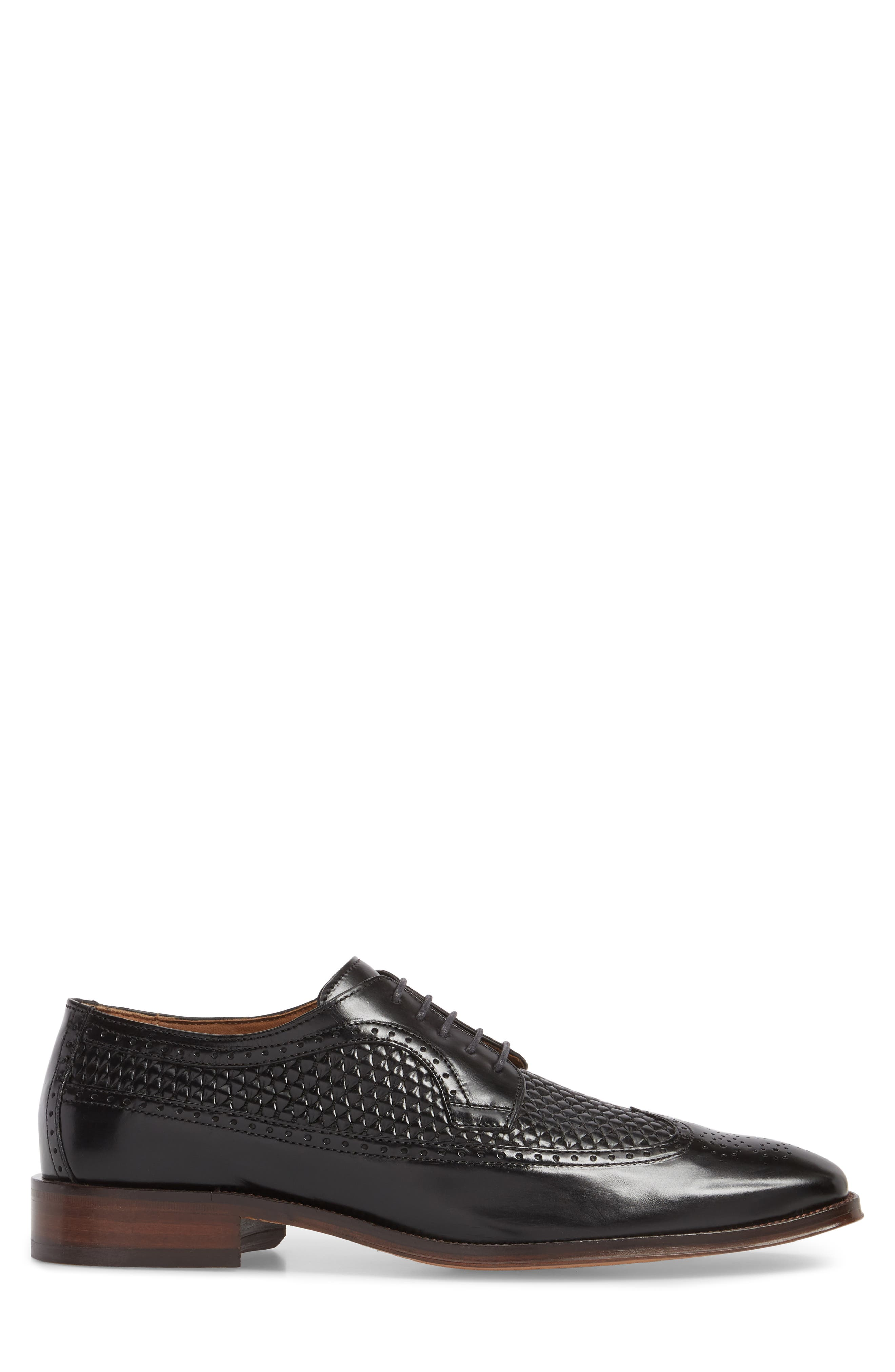Boydstun Woven Wingtip Derby,                             Alternate thumbnail 3, color,                             Black Leather