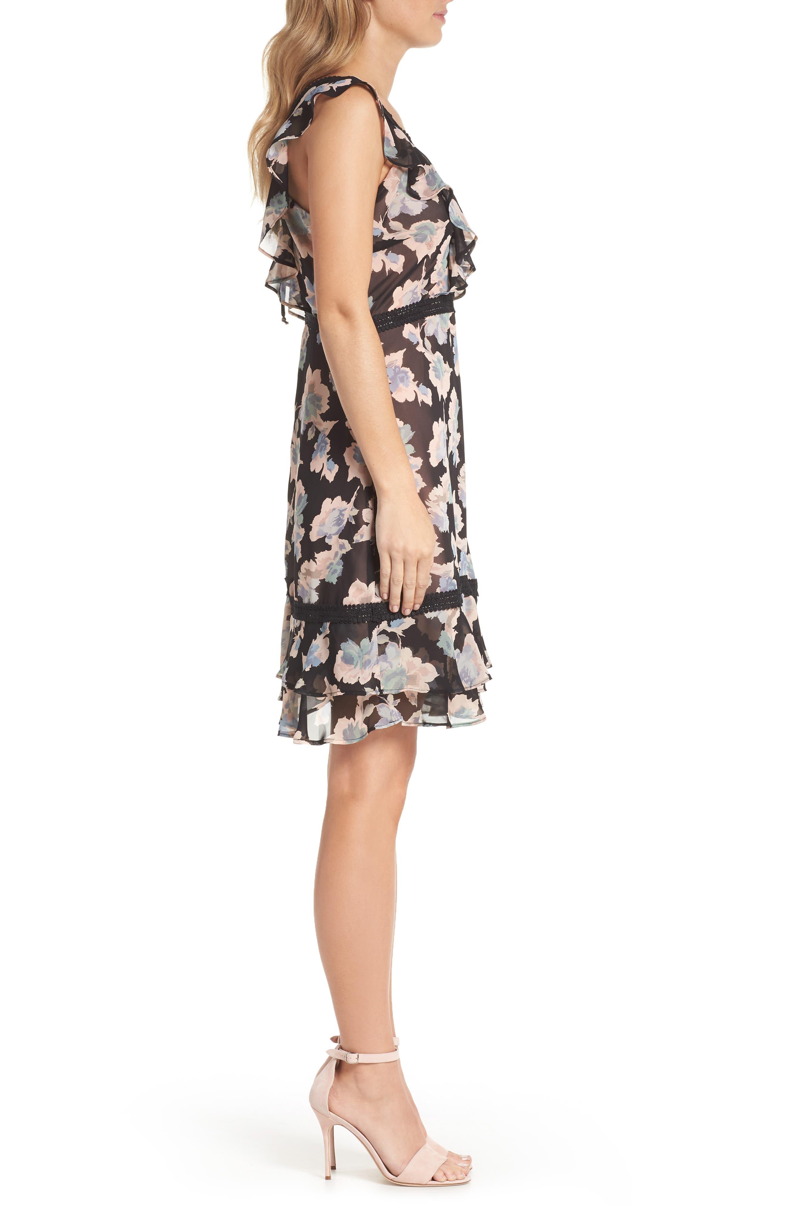Alternate Image 3  - Mary & Mabel Floral Ruffle Hem Fit & Flare Dress