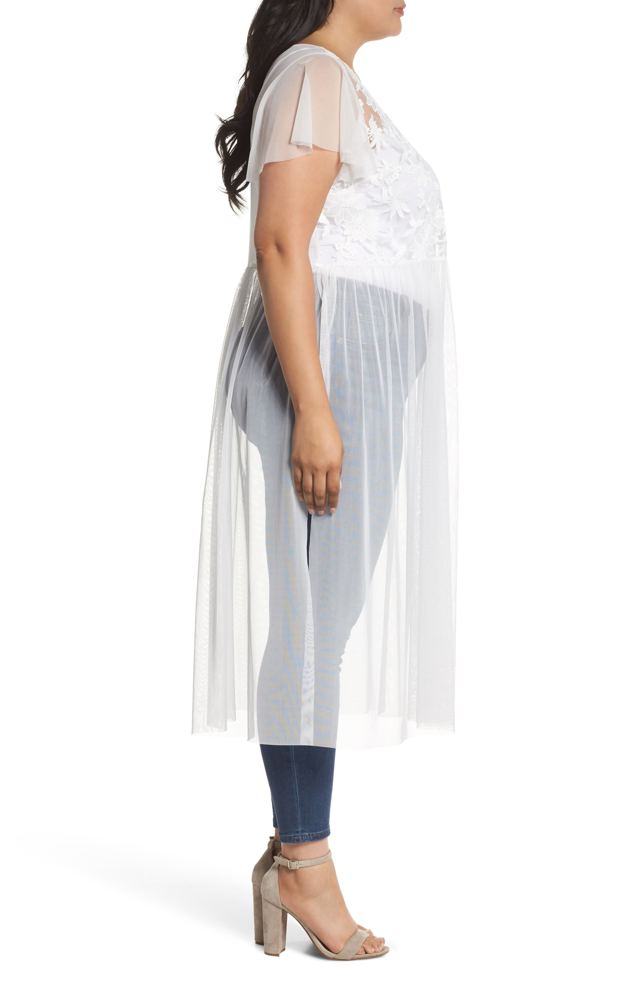 Flutter Sleeve Embroidered Mesh Tunic,                             Alternate thumbnail 3, color,                             Ultra White