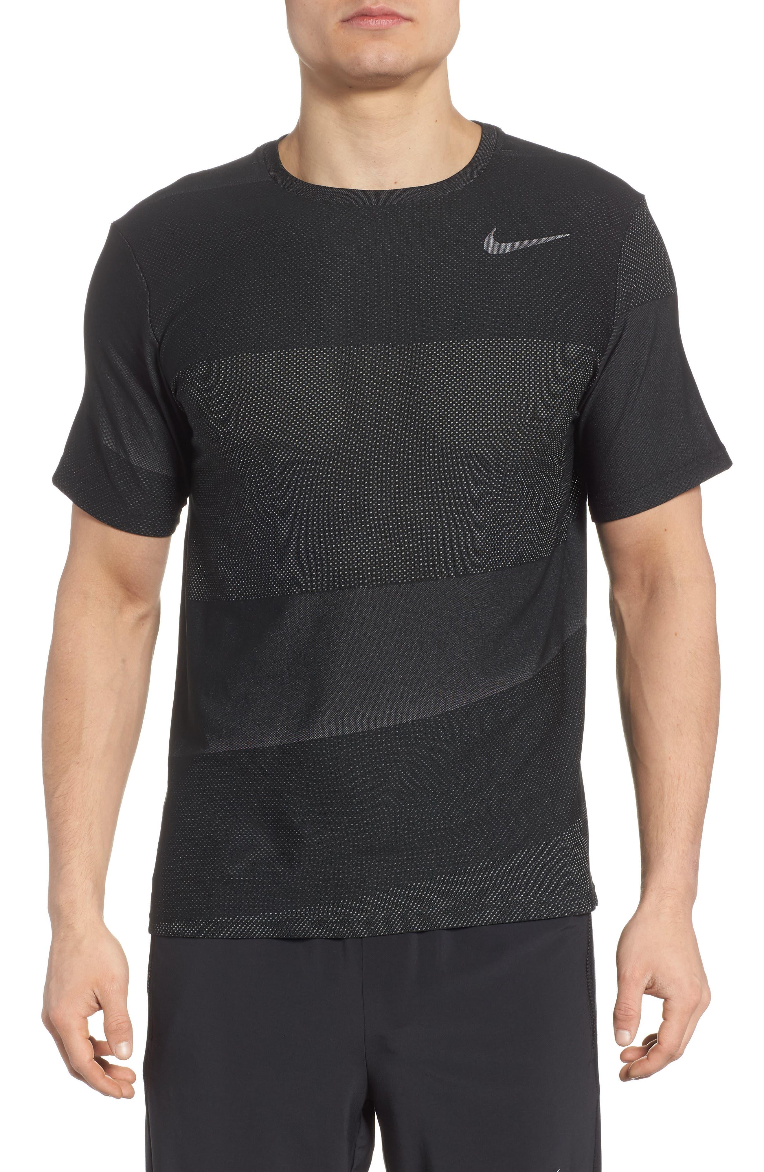Crewneck Mesh T-Shirt,                         Main,                         color, Black/ White/ Mtlc Hematite
