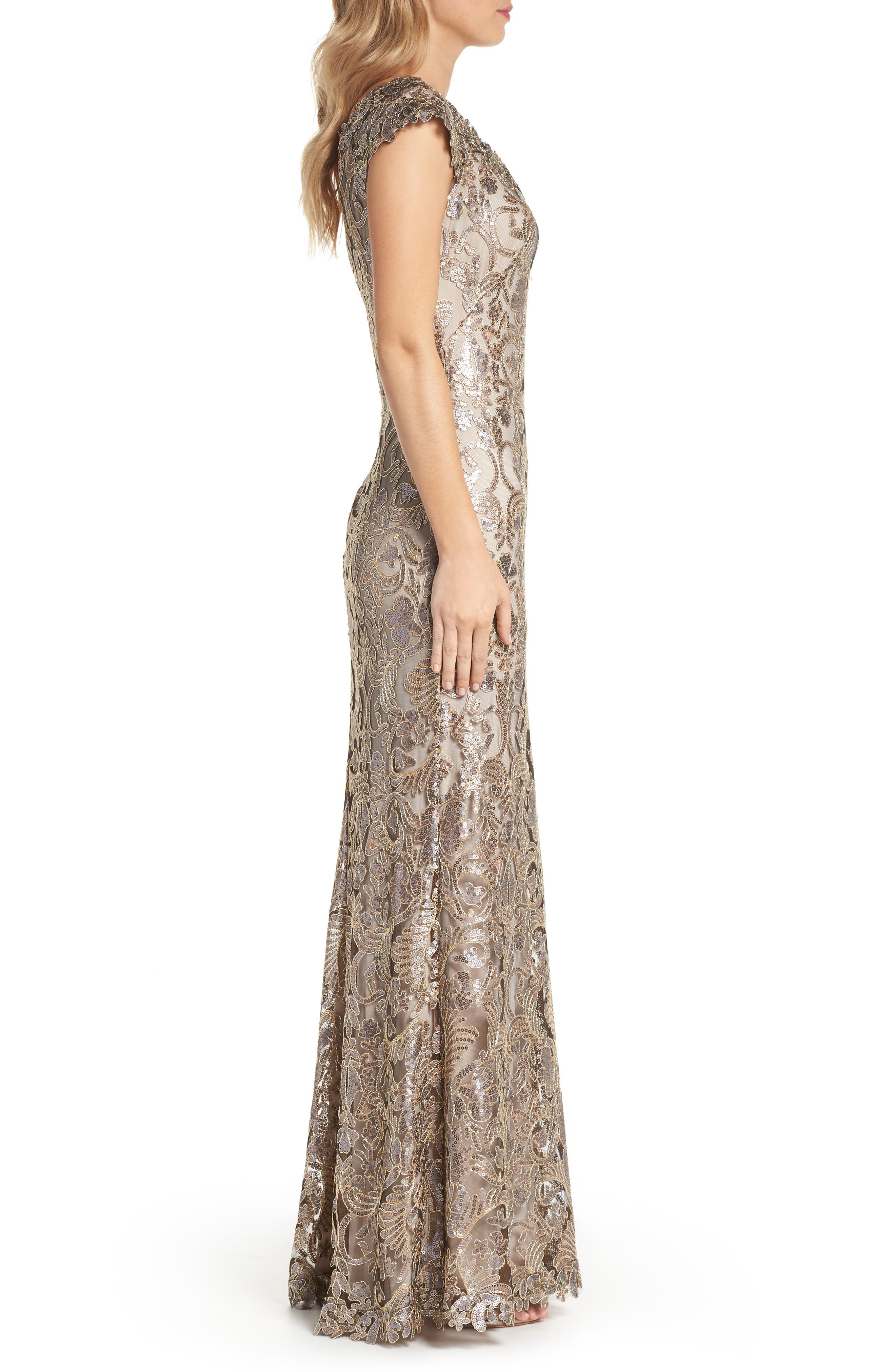 Embroidered Sequin A-Line Gown,                             Alternate thumbnail 3, color,                             Copper Shadow