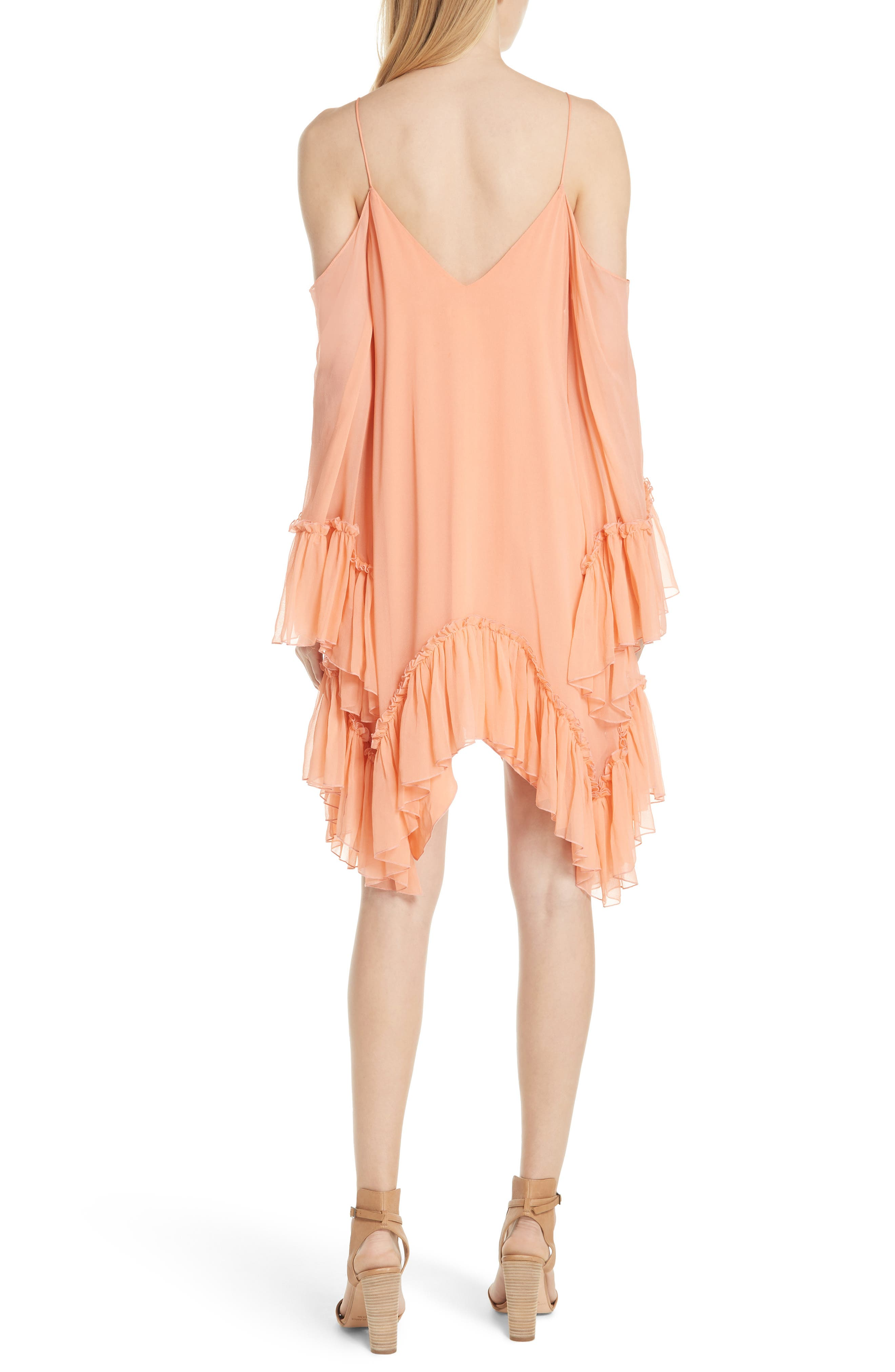 Ilaria Ruffle Cold Shoulder Silk Dress,                             Alternate thumbnail 2, color,                             Peach