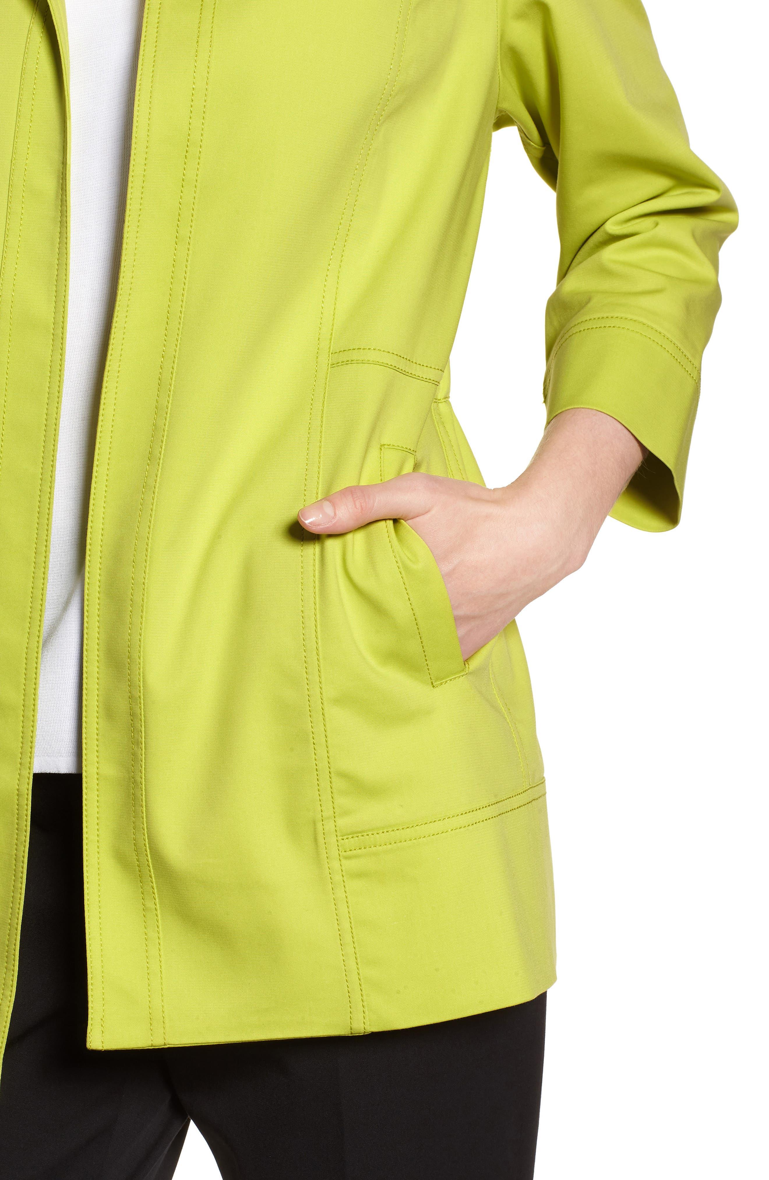Tie Back Stretch Cotton Jacket,                             Alternate thumbnail 4, color,                             Pear/ Black/ White