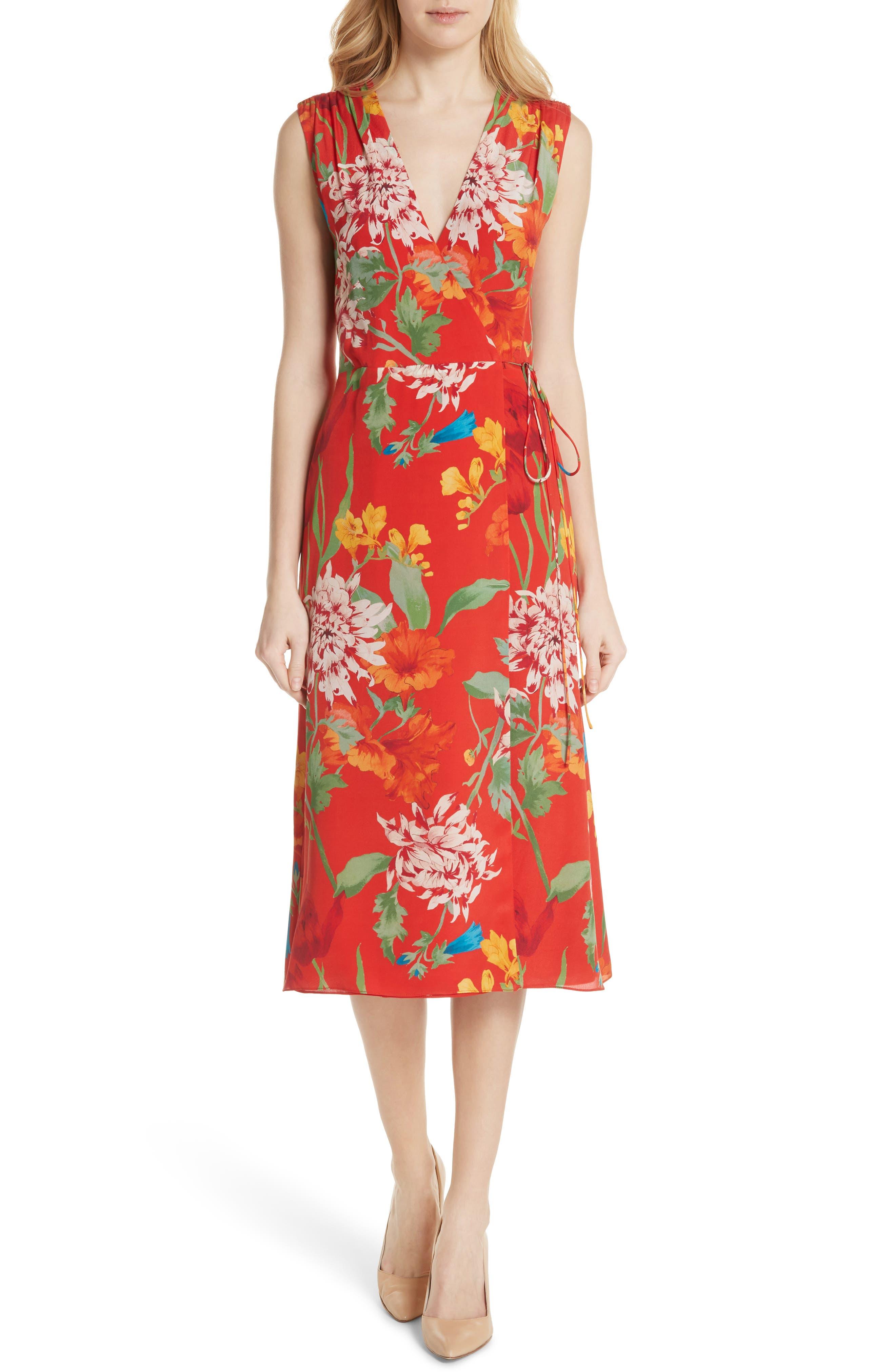 Alice + Olivia Tasia Sleeveless Silk Wrap Dress