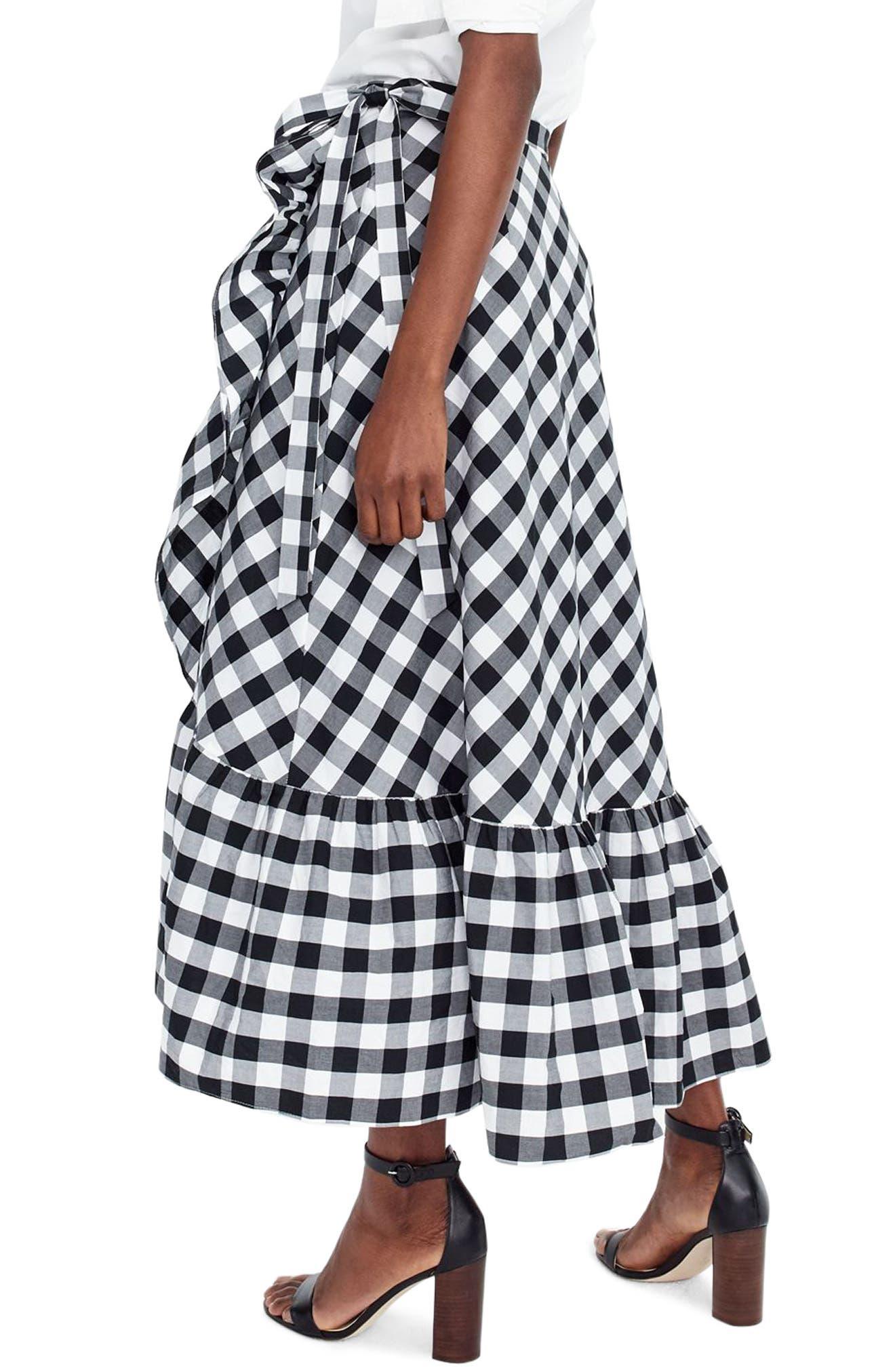 Gingham Ruffle Wrap Skirt,                             Alternate thumbnail 2, color,                             Black