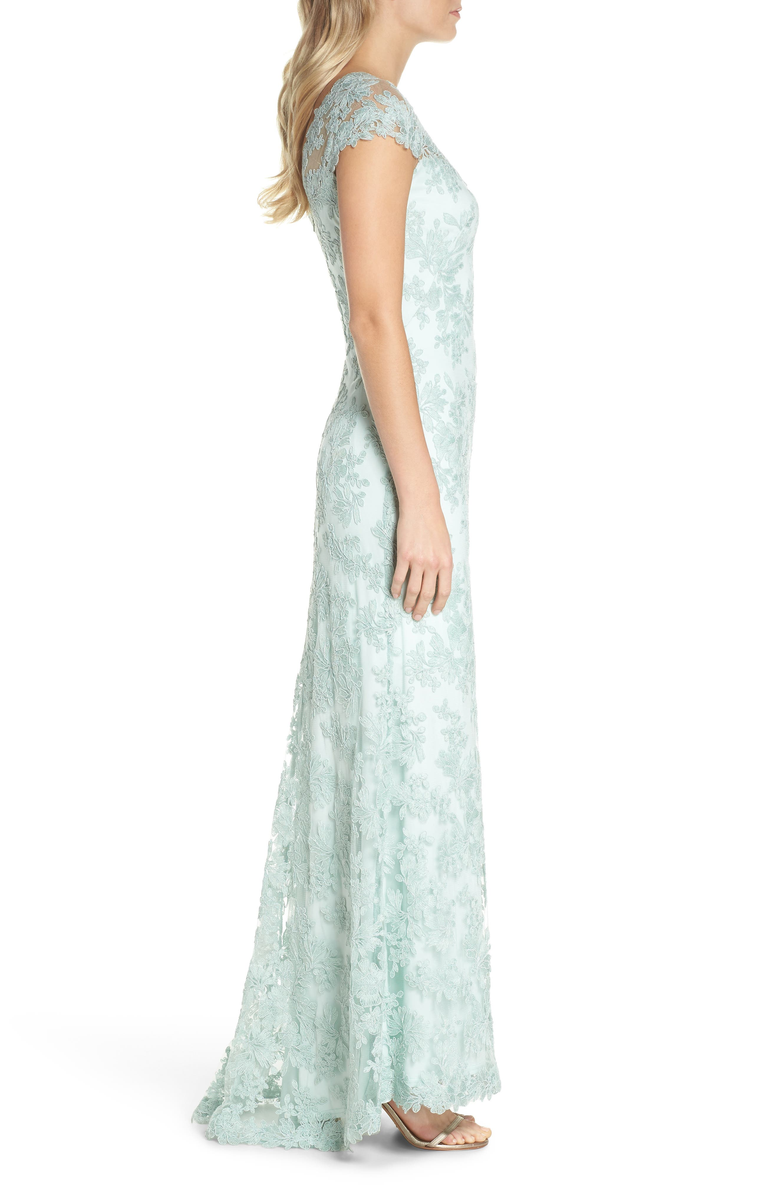 Embroidered Corded Lace Gown,                             Alternate thumbnail 3, color,                             Mint