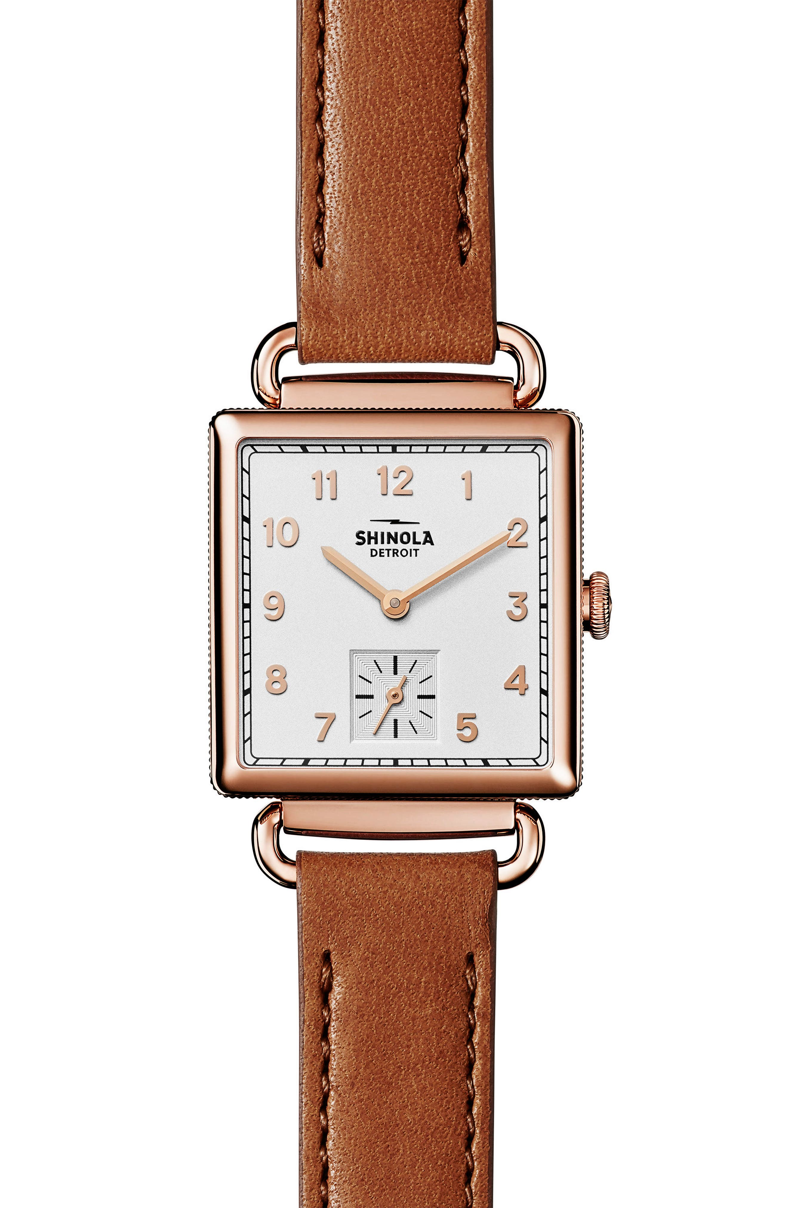 Cass Leather Strap Watch, 28mm,                         Main,                         color, Brown/ Rose Gold