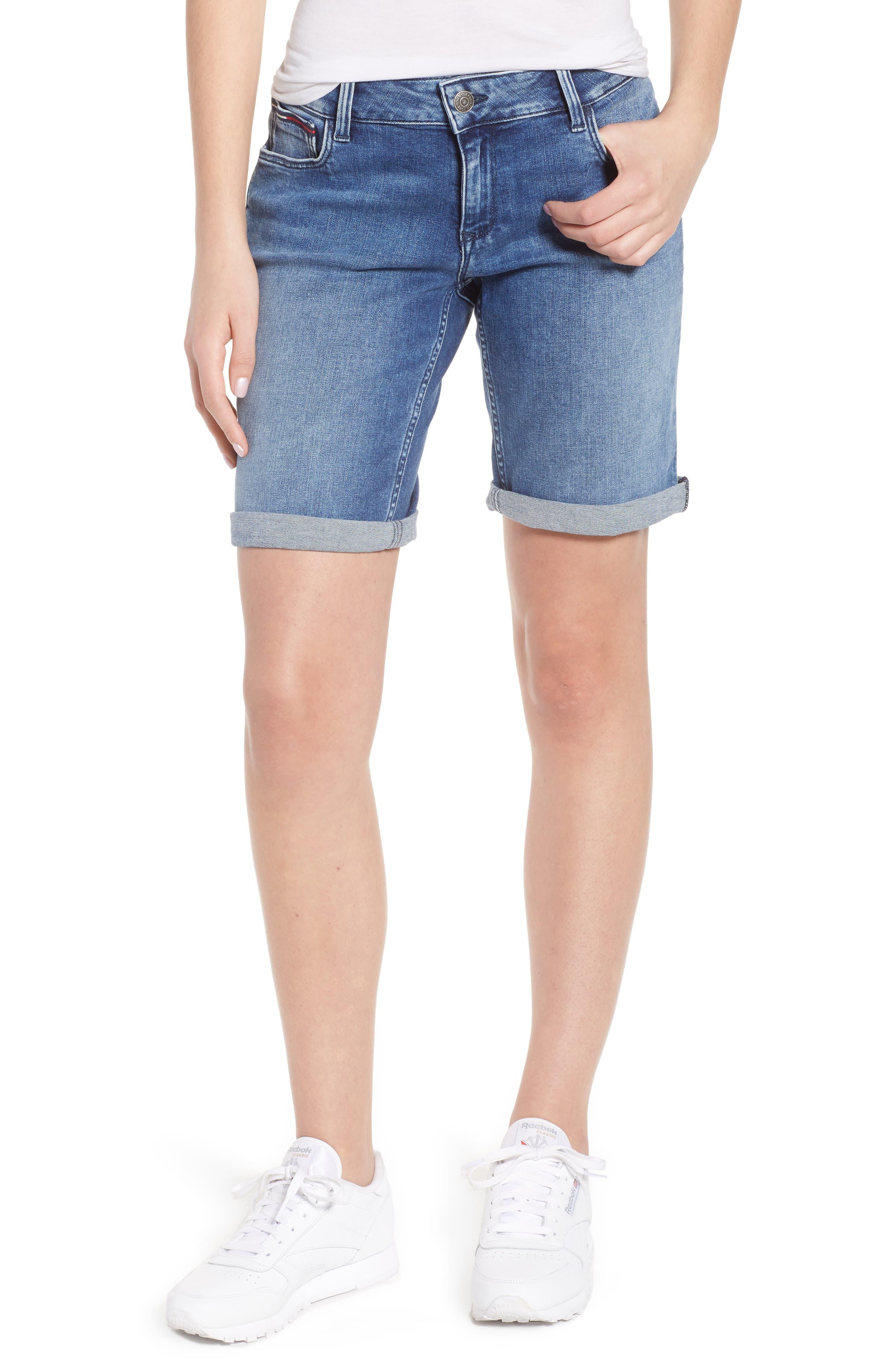Classic Long Denim Shorts,                             Main thumbnail 1, color,                             Newport Mid Blue Str