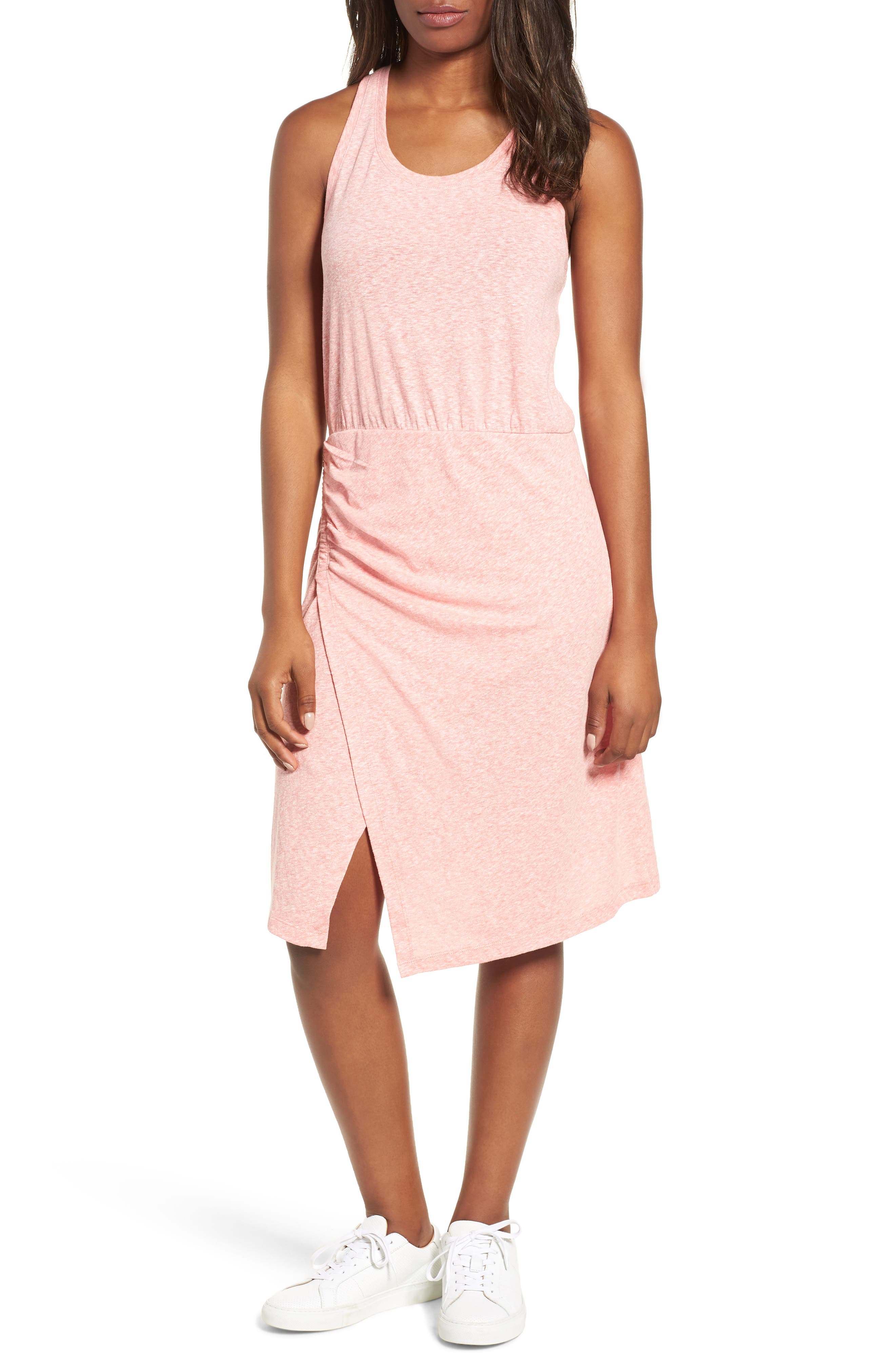 Caslon® Racerback Side Ruched Cotton Blend Tank Dress (Regular & Petite)