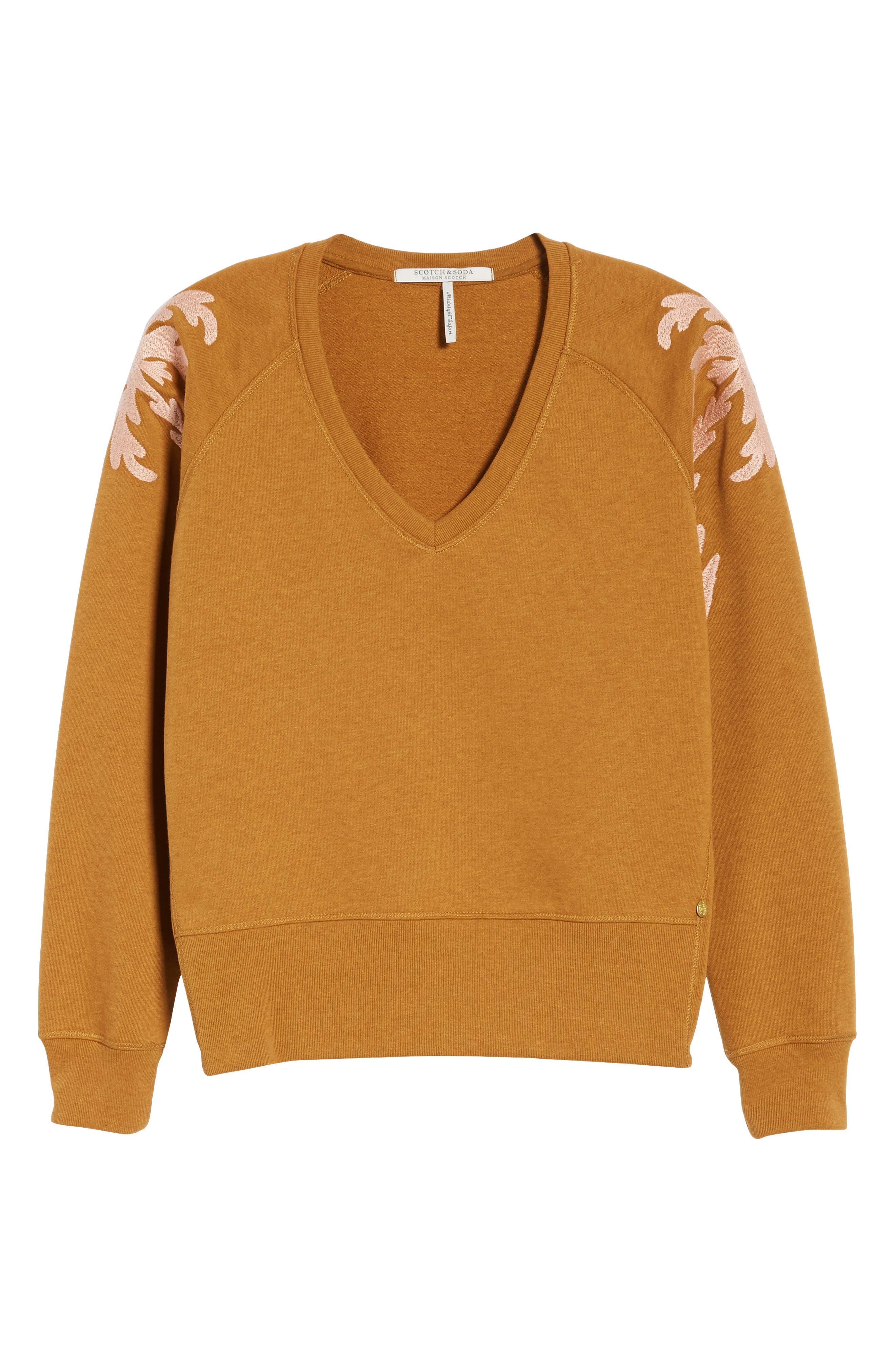 Embroidered V-Neck Sweater,                             Alternate thumbnail 7, color,                             Color 2009 Hazel