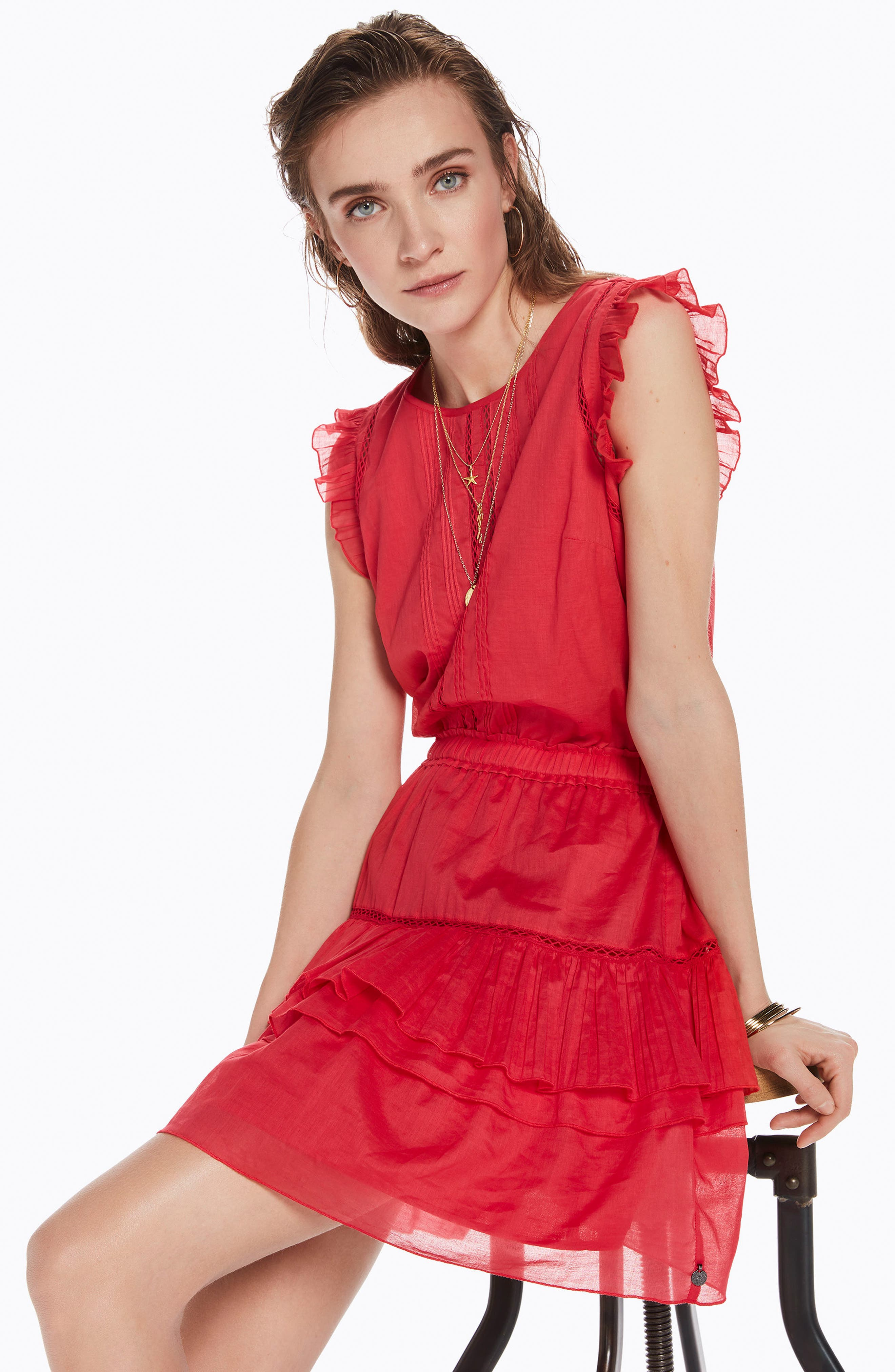 Tiered Sleeveless Dress,                             Alternate thumbnail 5, color,                             Color 0406 Coral