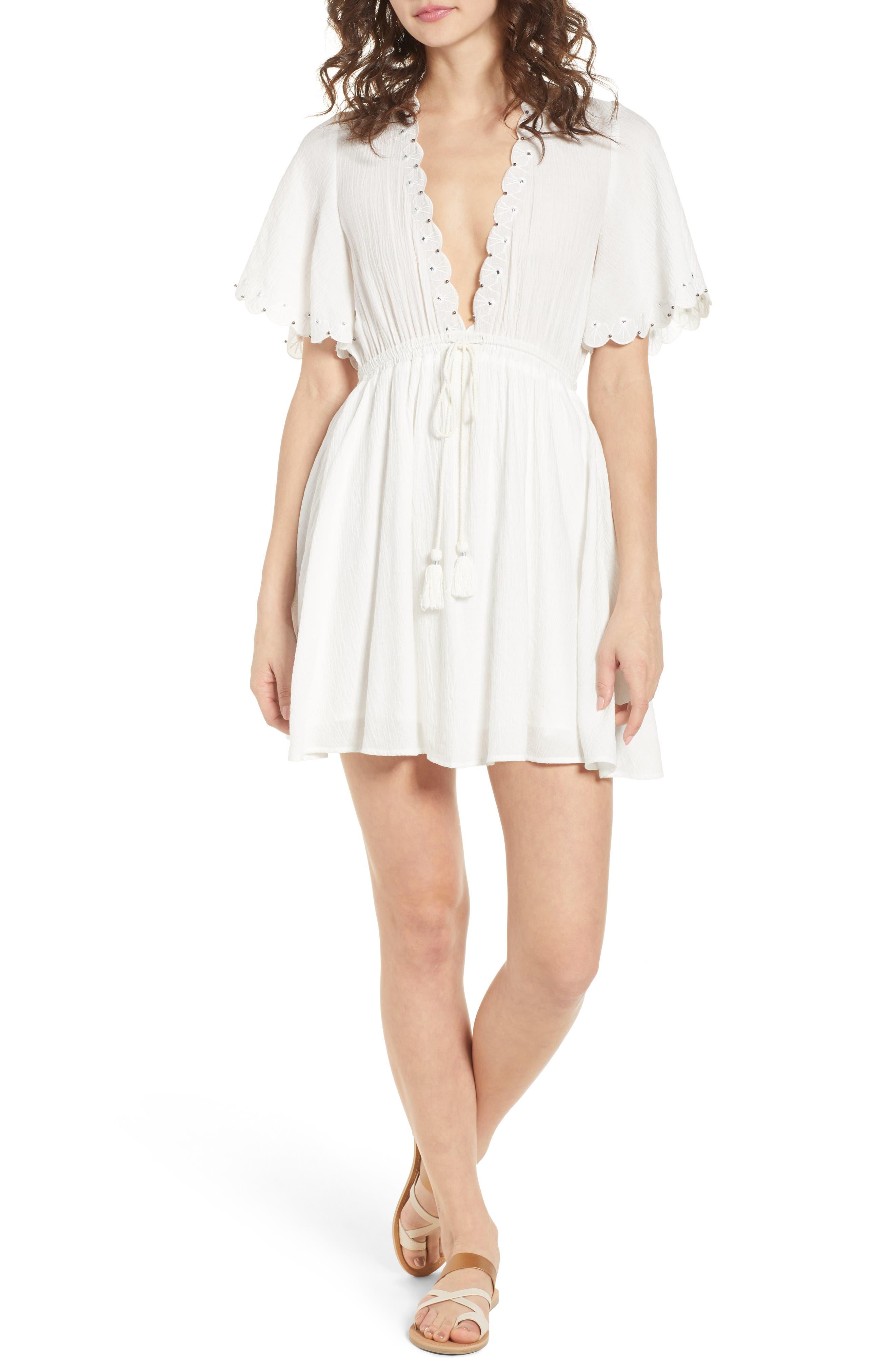 Magnolia Flutter Sleeve Dress,                             Main thumbnail 1, color,                             White