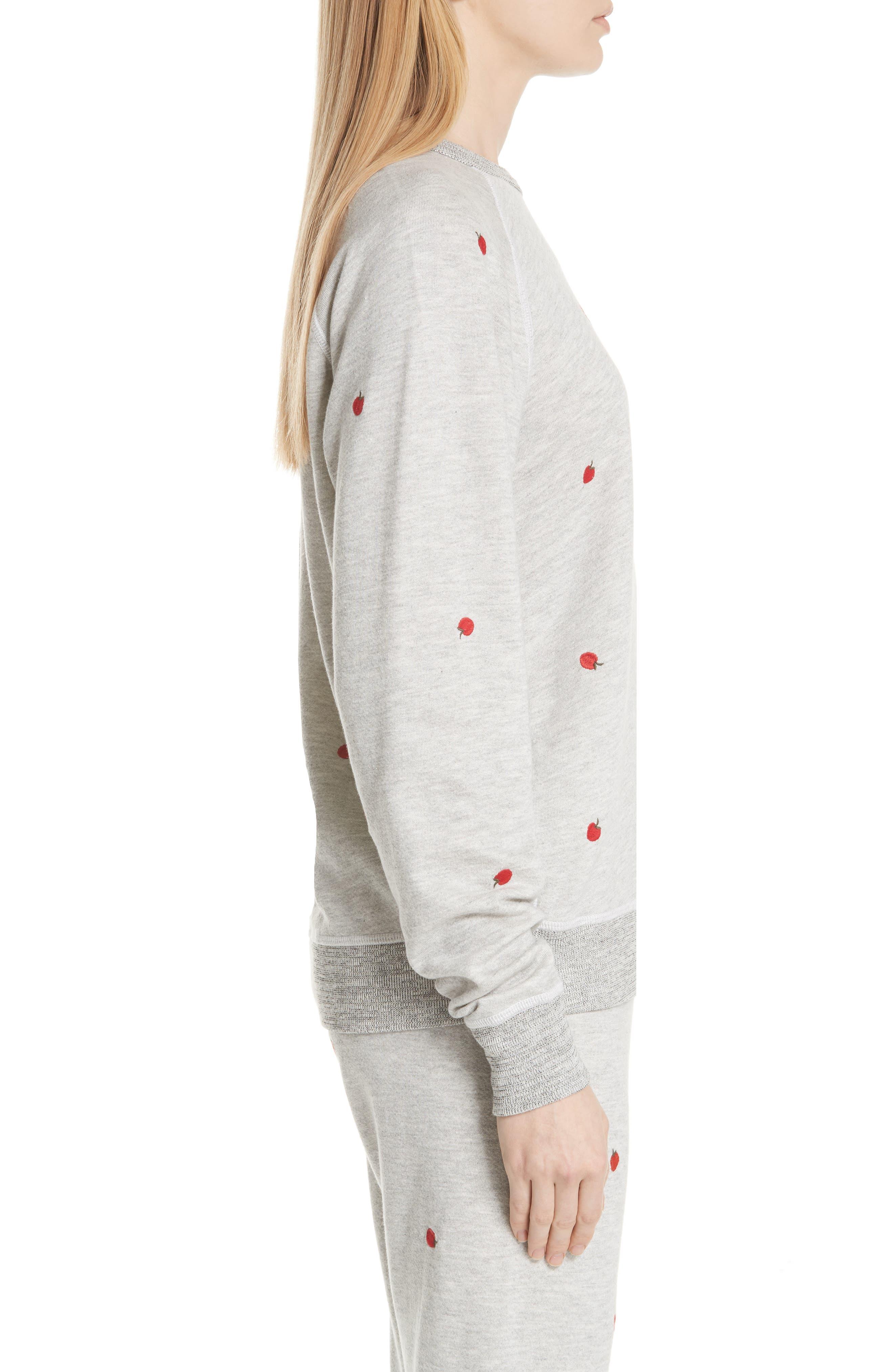 College Sweatshirt,                             Alternate thumbnail 3, color,                             Light Heather Grey/ Red Apples