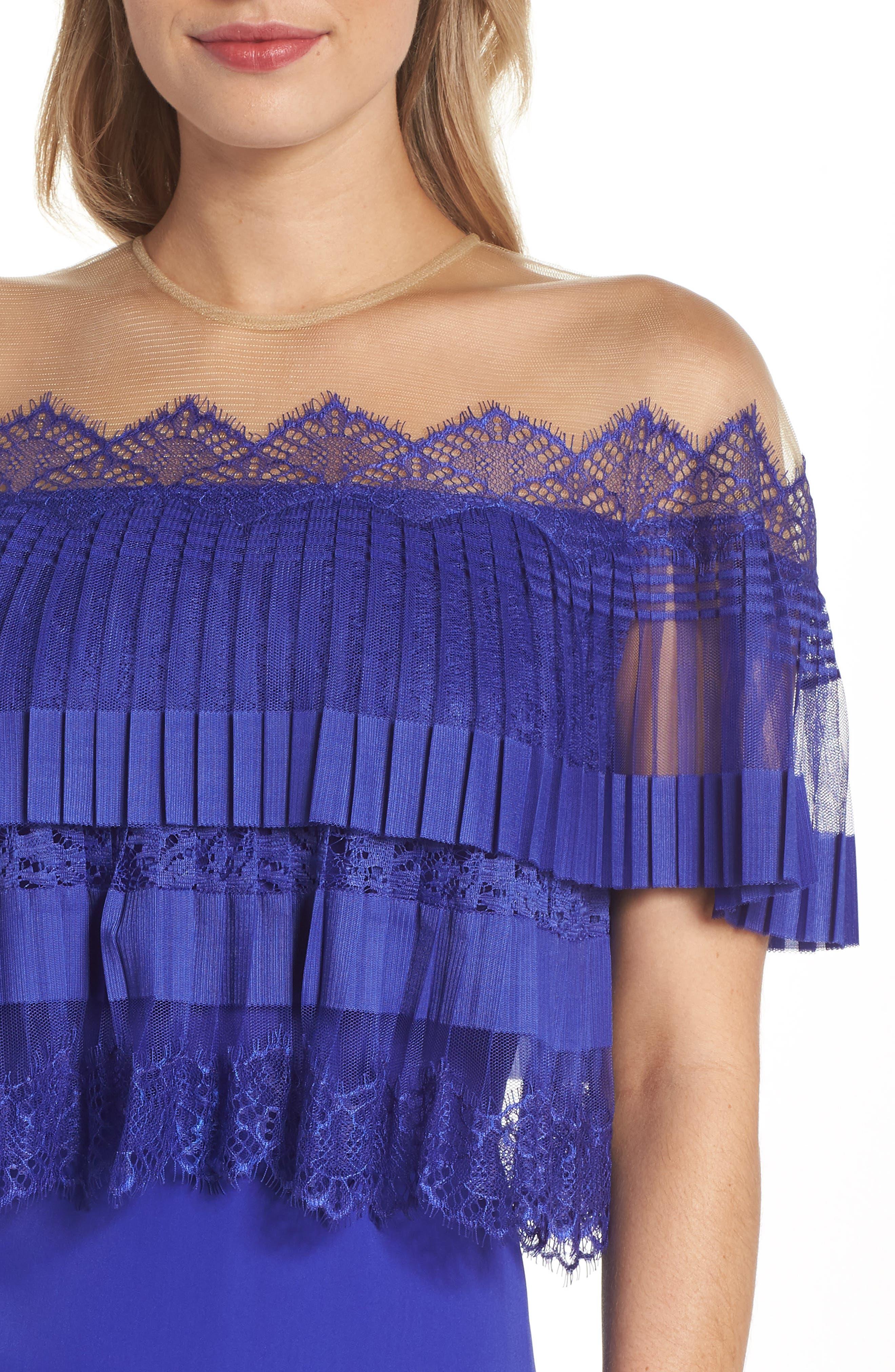 Off-the-Shoulder Lace & Crepe Gown,                             Alternate thumbnail 4, color,                             Royal Iris