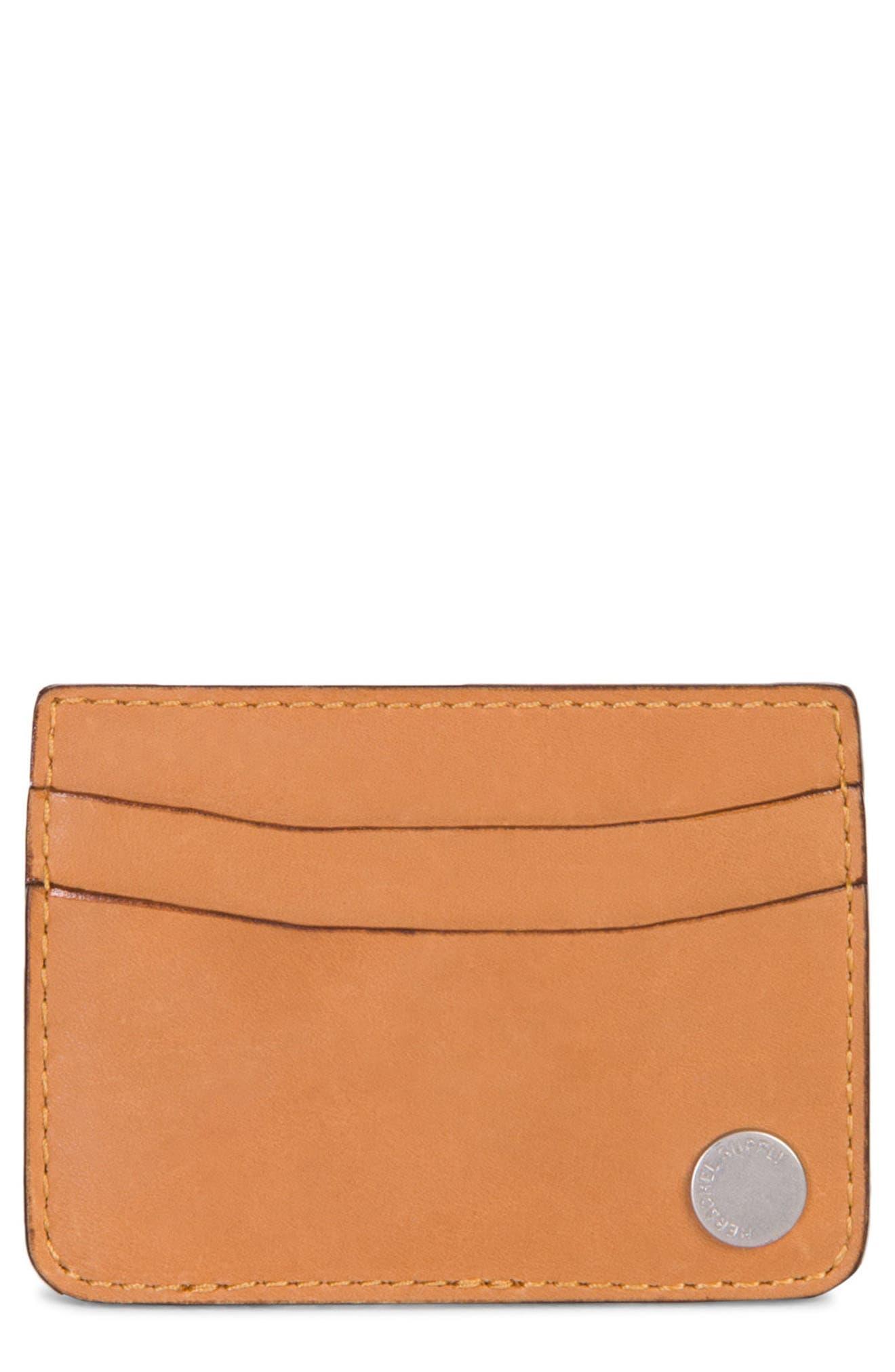 Ace Leather Card Case,                         Main,                         color, Tan