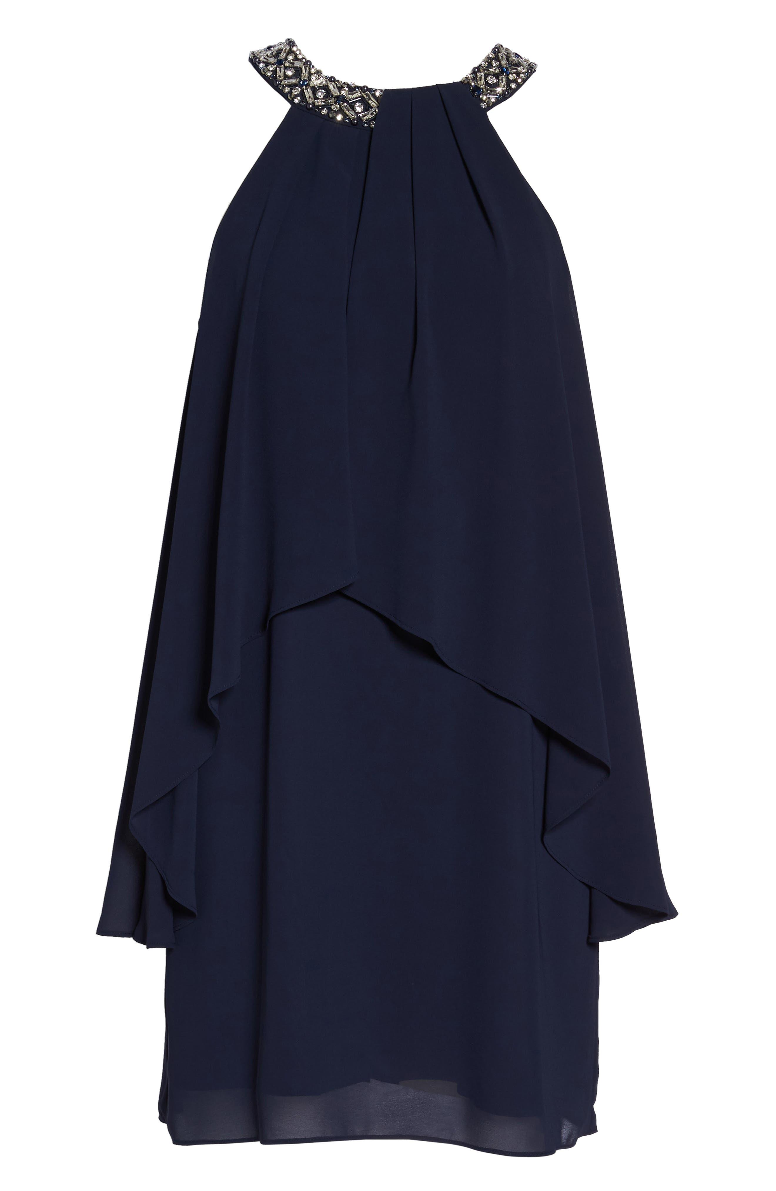 Beaded Halter Trapeze Dress,                             Alternate thumbnail 6, color,                             Navy