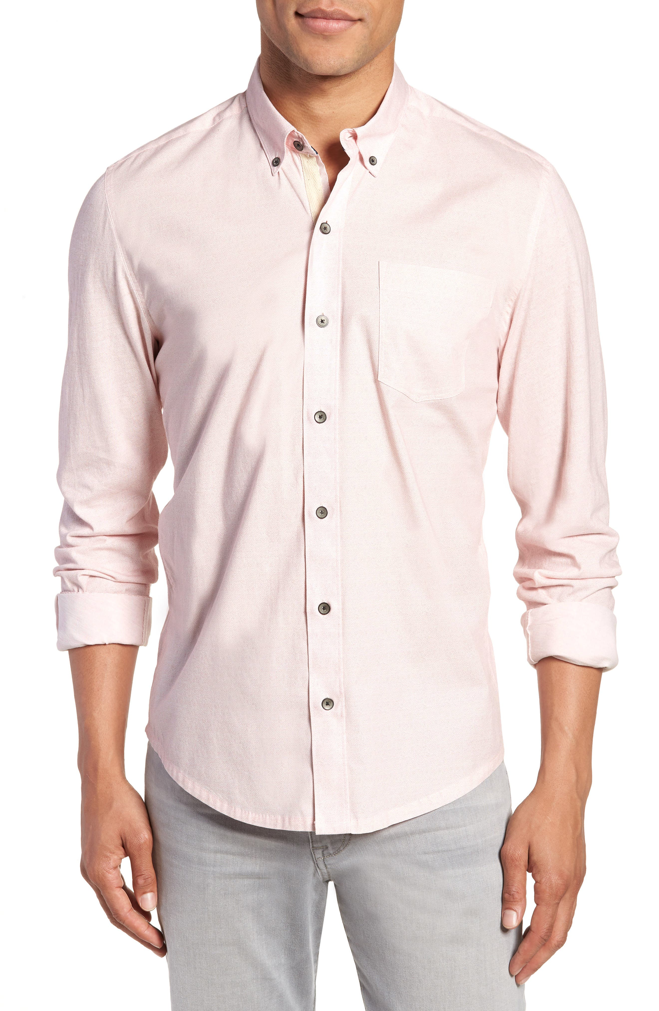 Reworked Slim Fit Speckled Sport Shirt,                             Main thumbnail 1, color,                             Pink