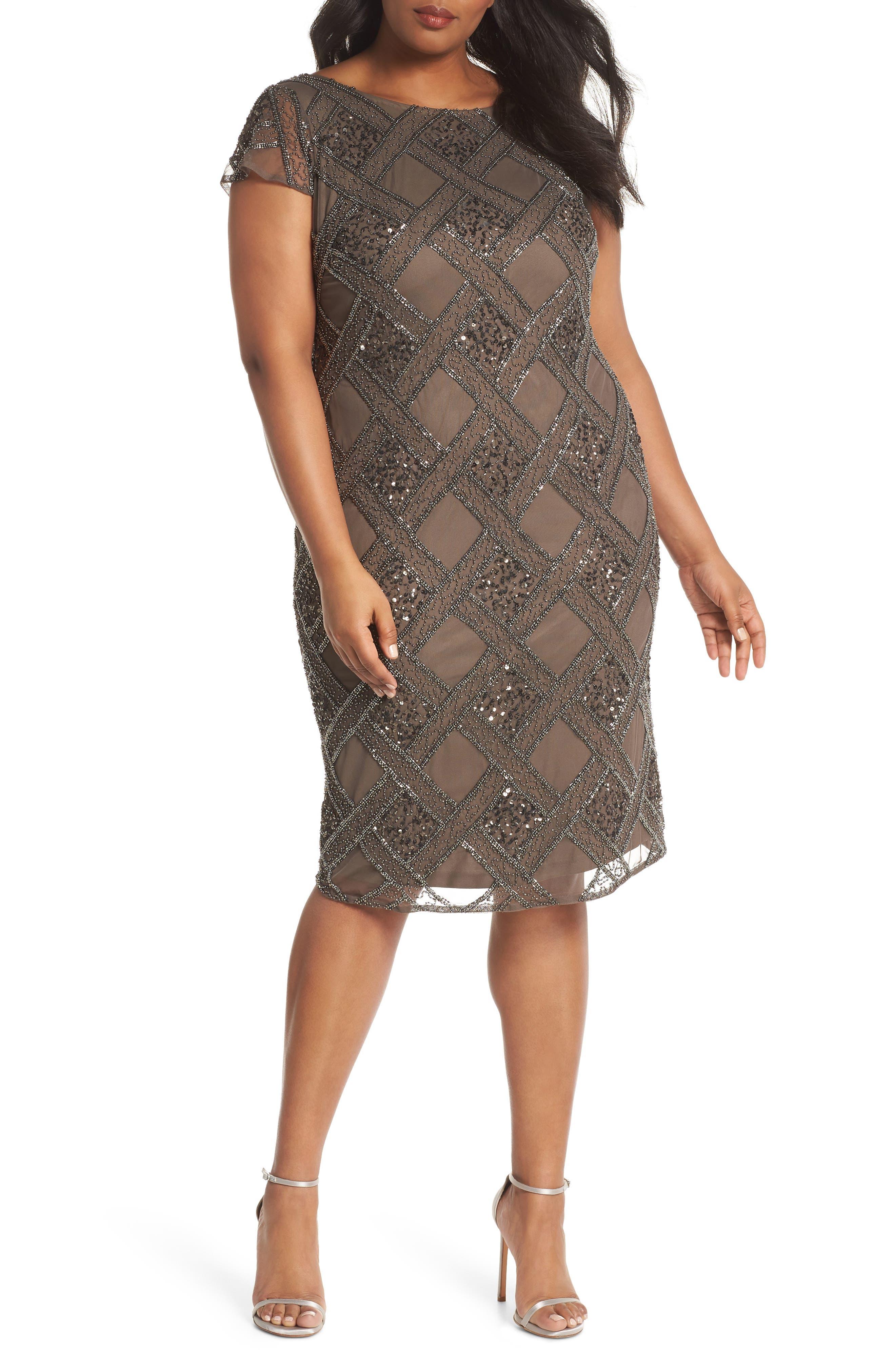 Adrianna Papell Beaded Cap Sleeve Sheath Dress (Plus Size)