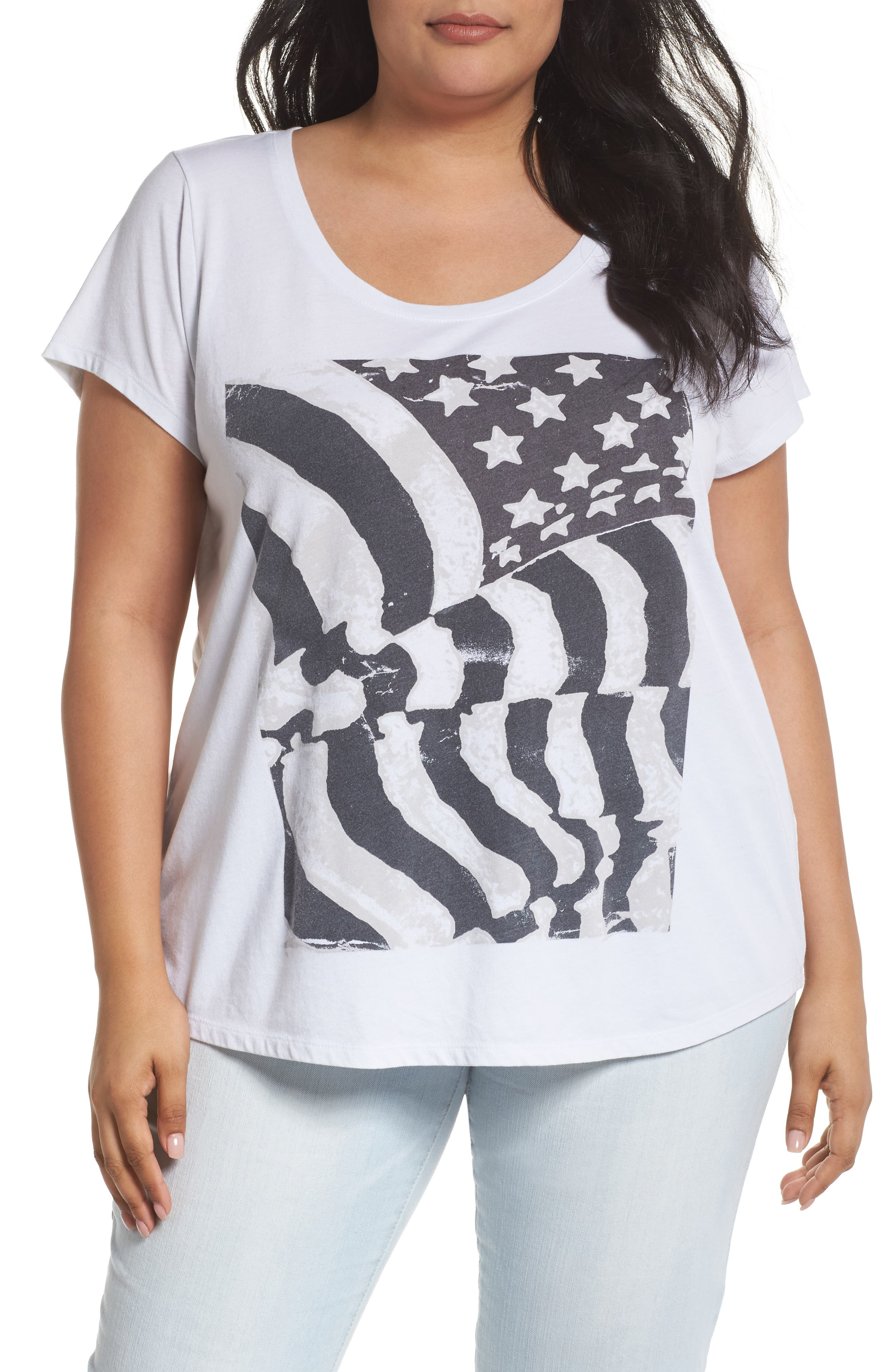 Lucky Brand Flag Graphic Tee (Plus Size)
