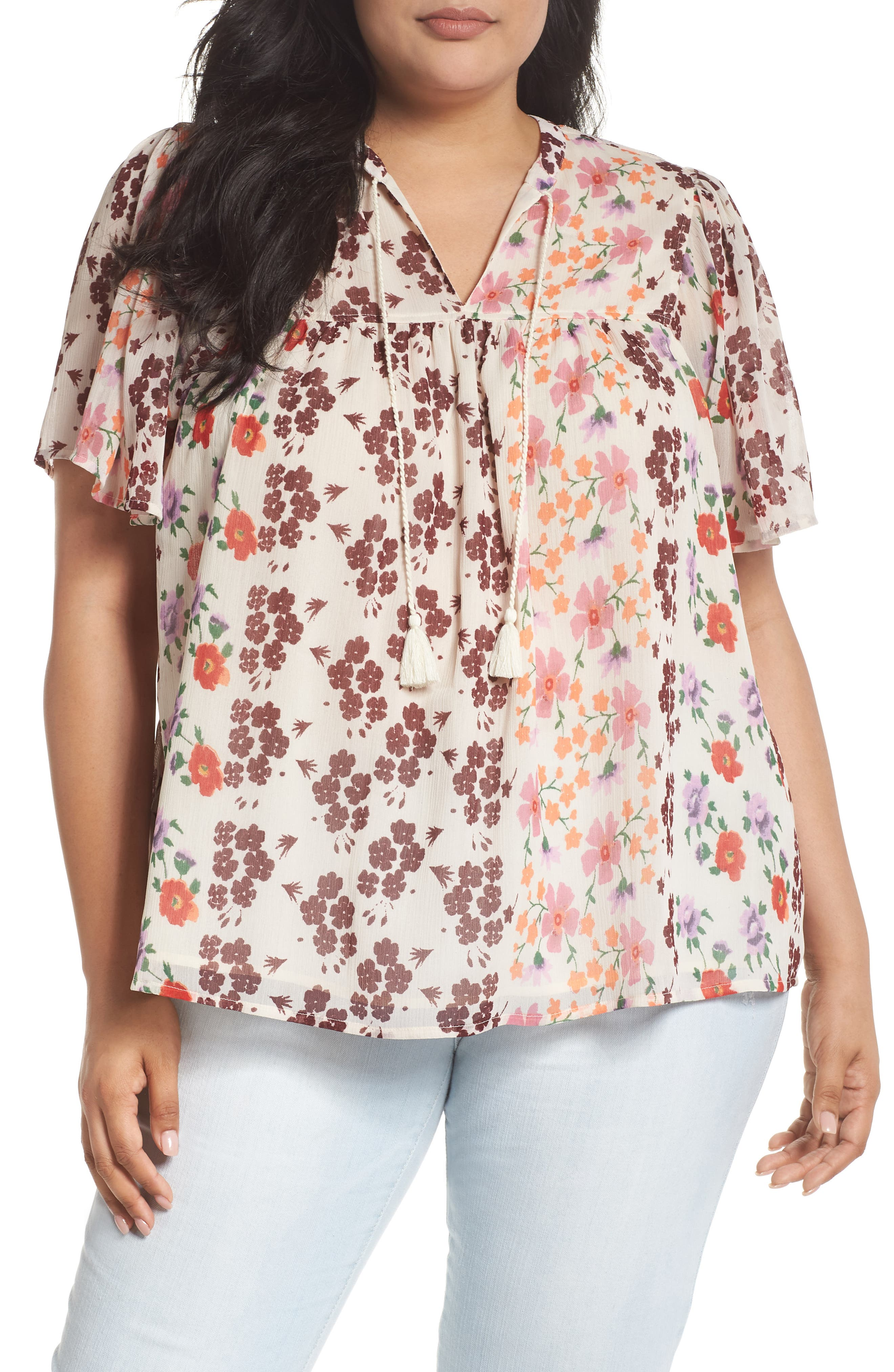 Lucky Brand Floral Tassel Tie Top (Plus Size)