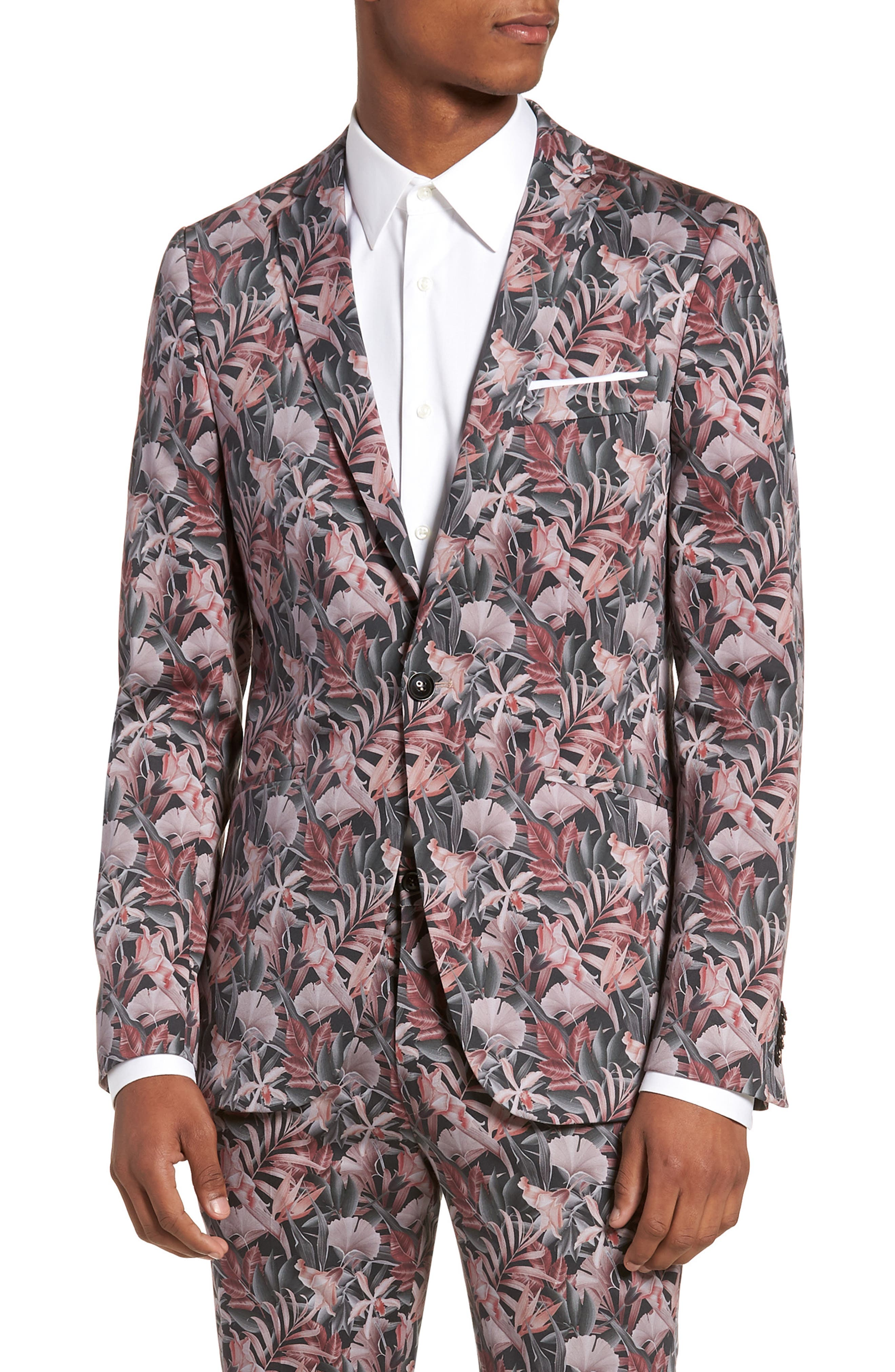 Ultra Skinny Fit Hibiscus Print Suit Jacket,                         Main,                         color, Pink Multi