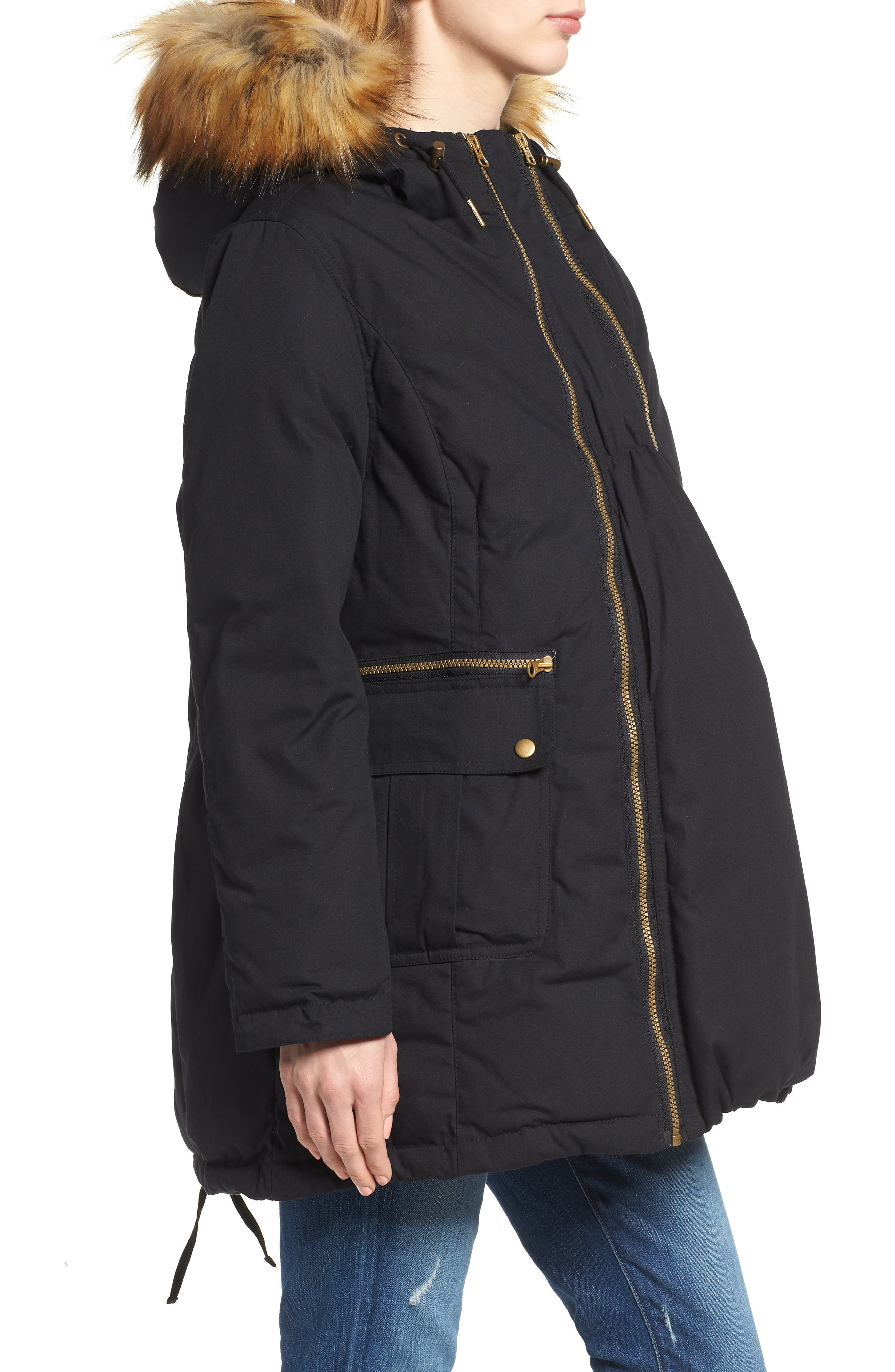Convertible Down 3-in-1 Maternity Jacket,                             Alternate thumbnail 4, color,                             Black
