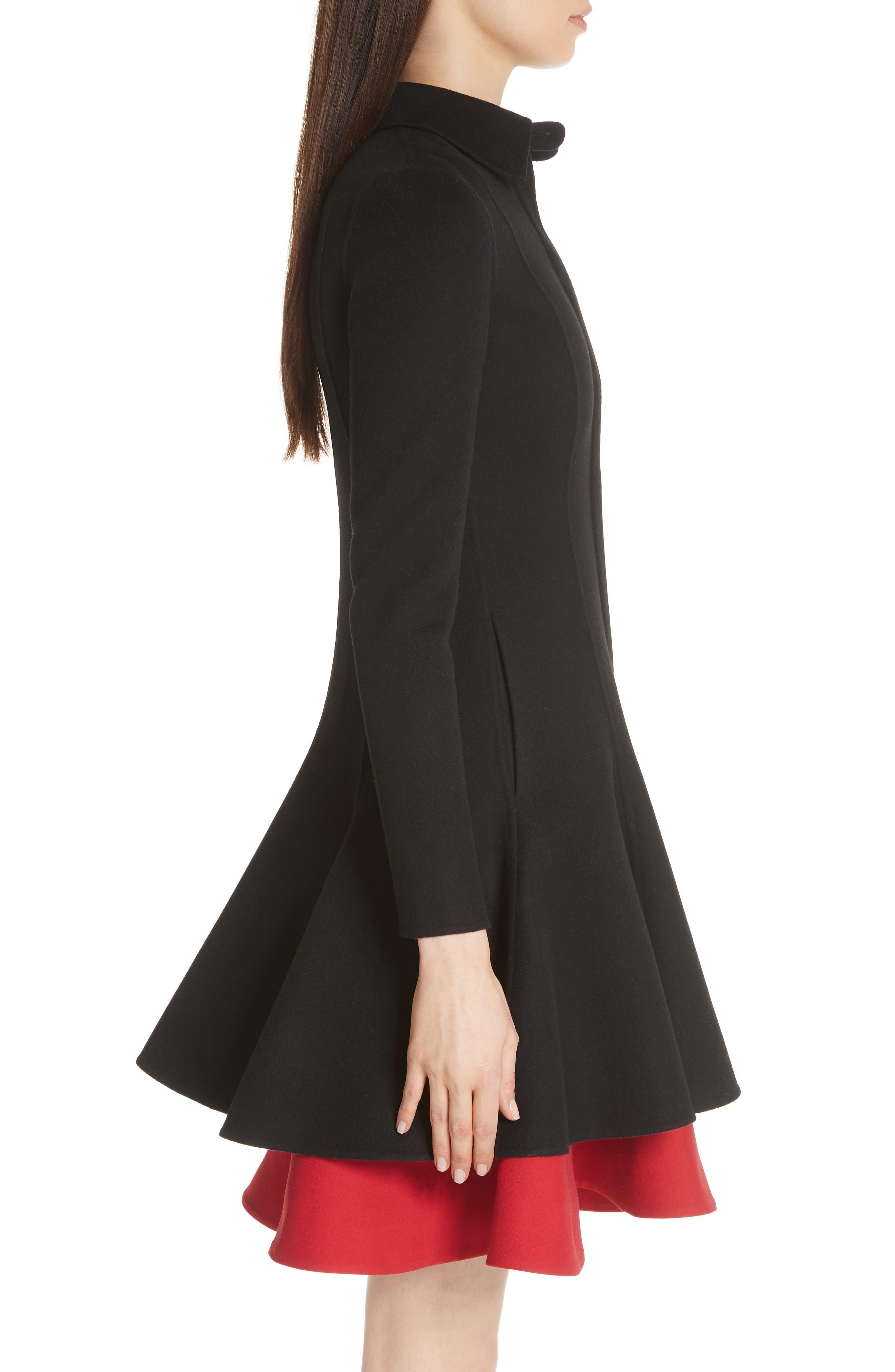 Compact Double Face Wool Peplum Coat,                             Alternate thumbnail 3, color,                             Black