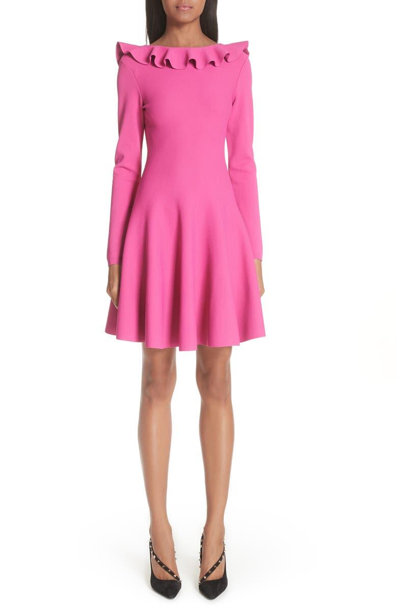Ruffle Neck Knit Dress