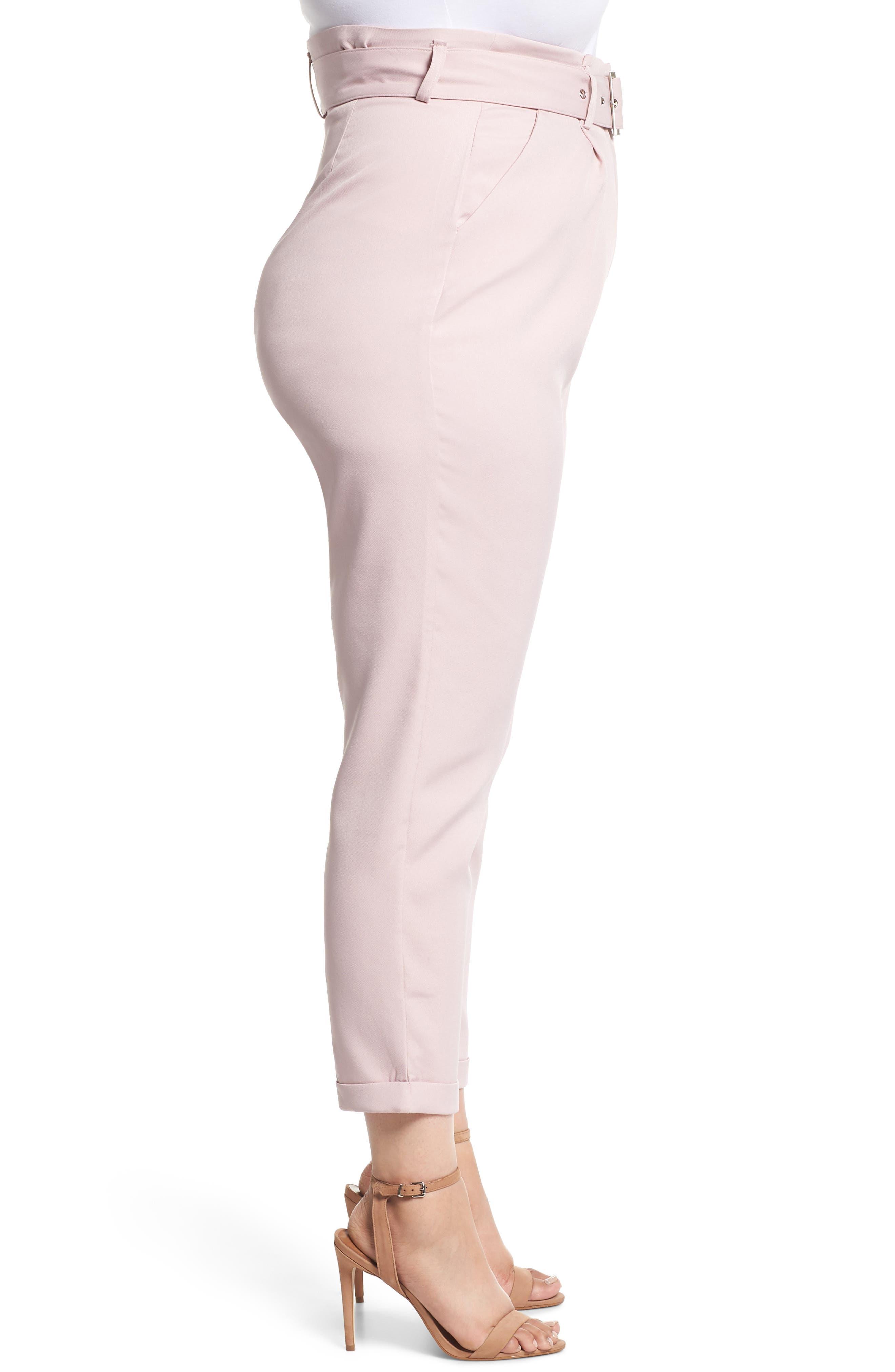 Belted Peg Trousers,                             Alternate thumbnail 3, color,                             Blush