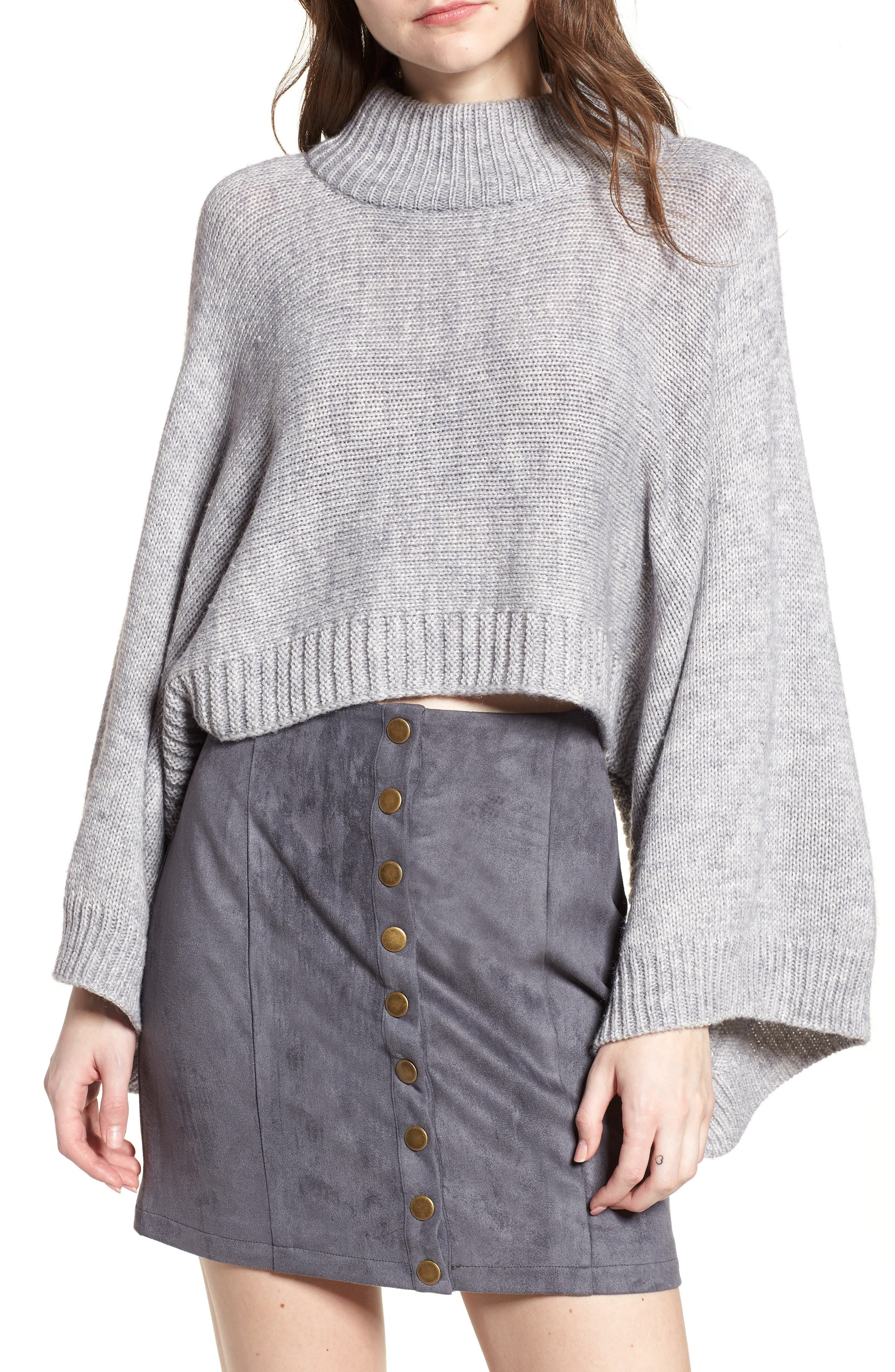 Bishop + Young Olivia Crop Sweater,                         Main,                         color, Grey