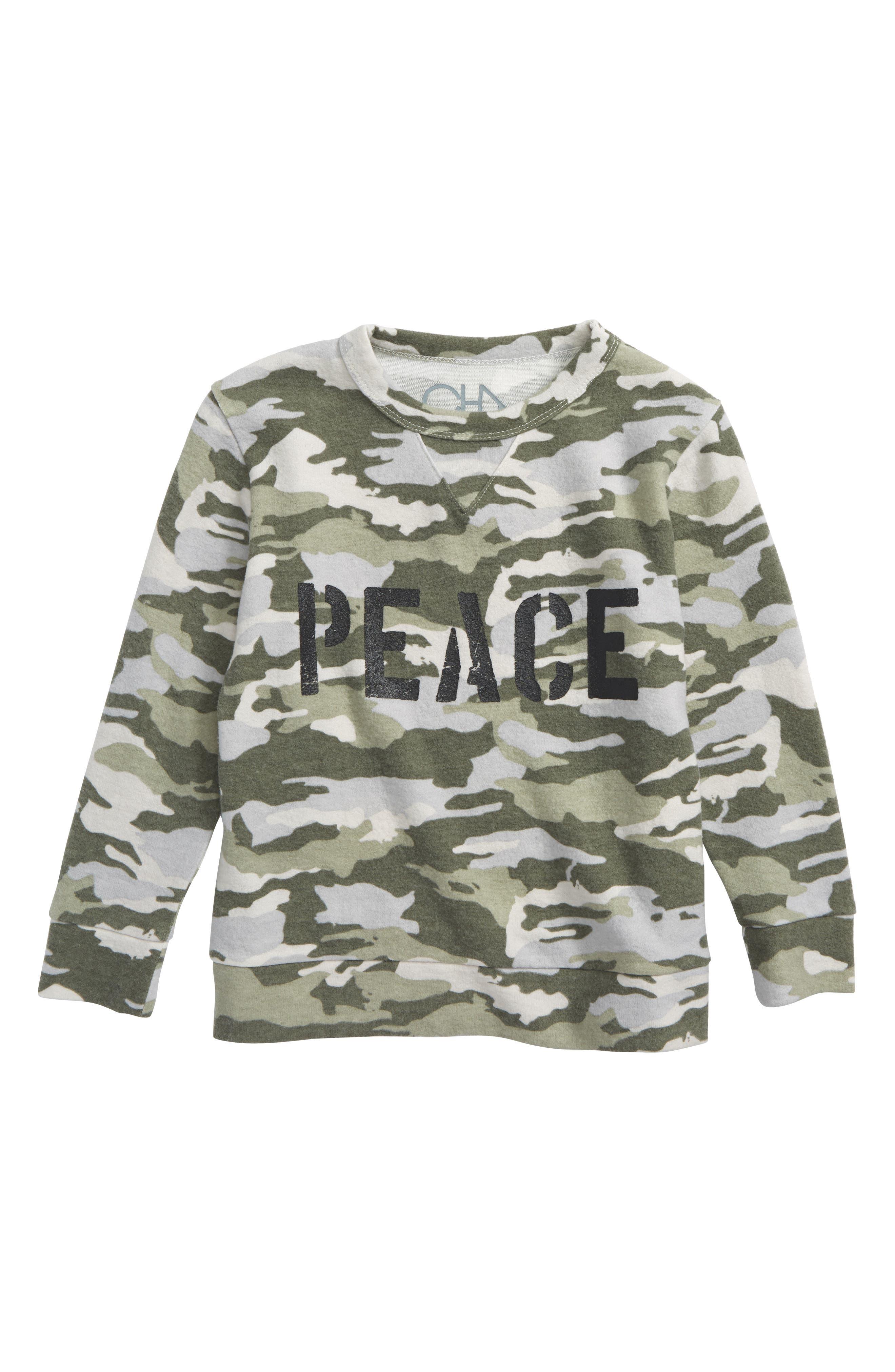 Peace Camo Shirt,                             Main thumbnail 1, color,                             Camoflage