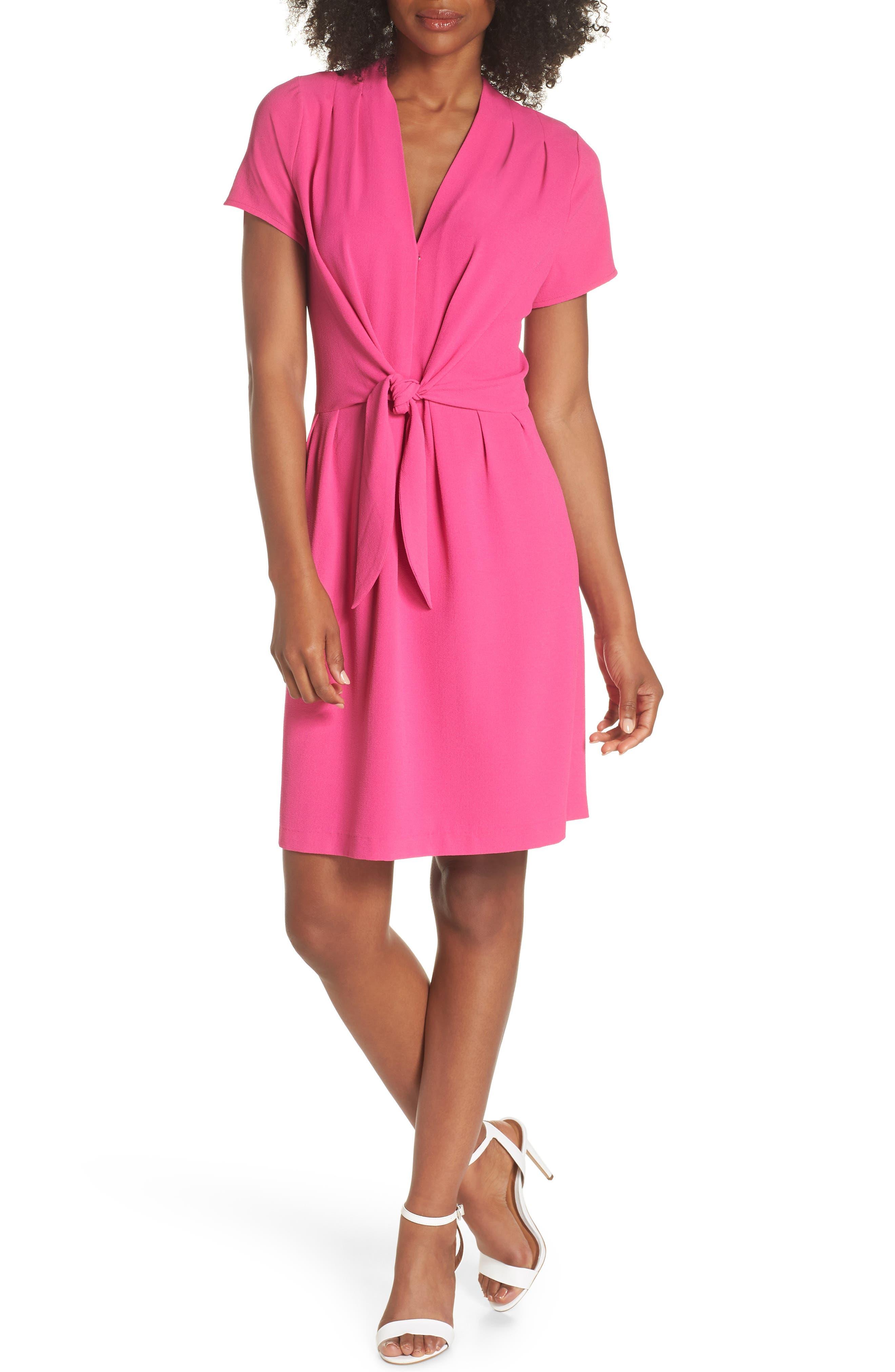 Tie Front Sheath Dress,                             Main thumbnail 1, color,                             Hot Pink
