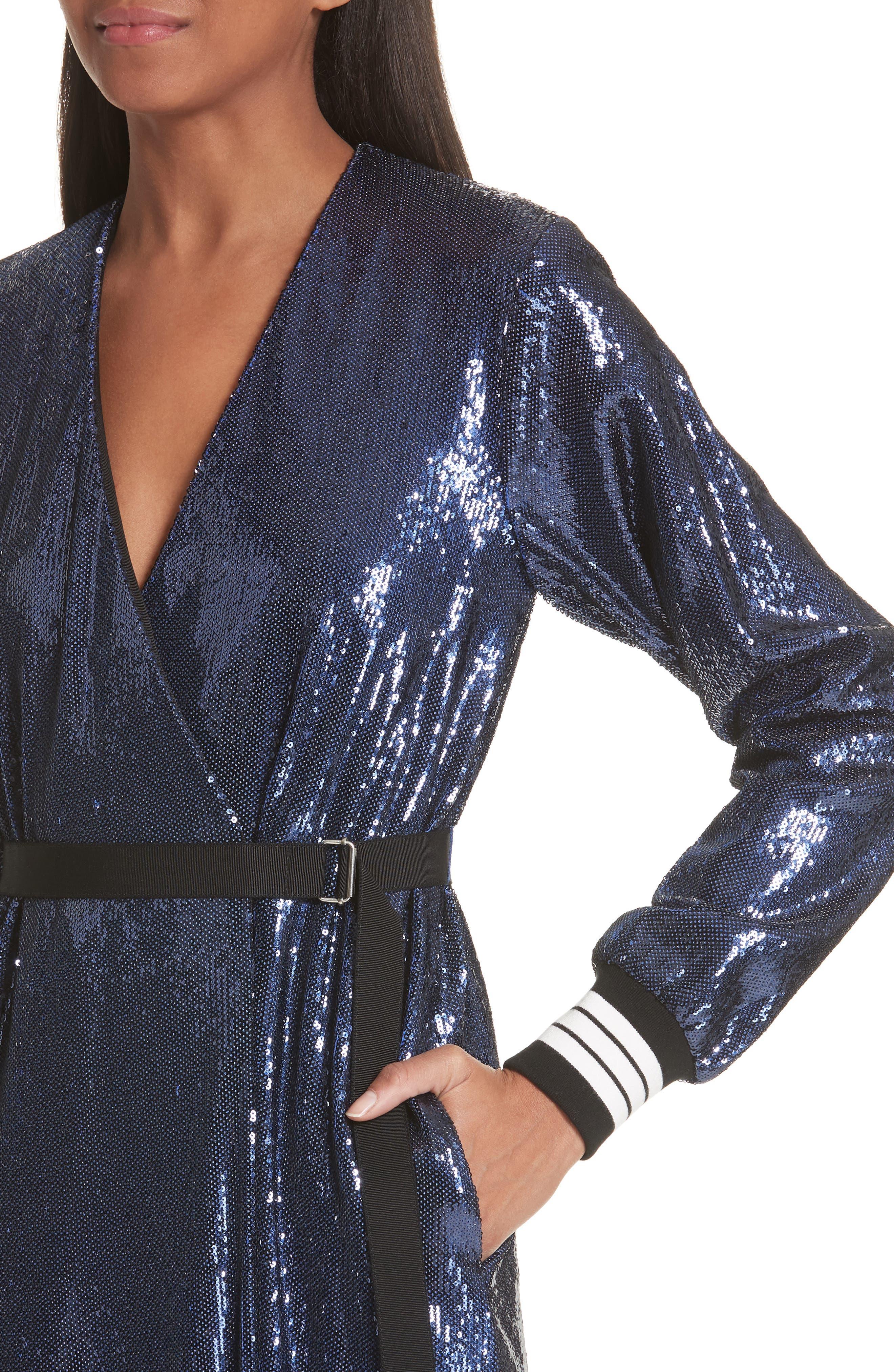 Sequin Wrap Dress,                             Alternate thumbnail 5, color,                             Blue
