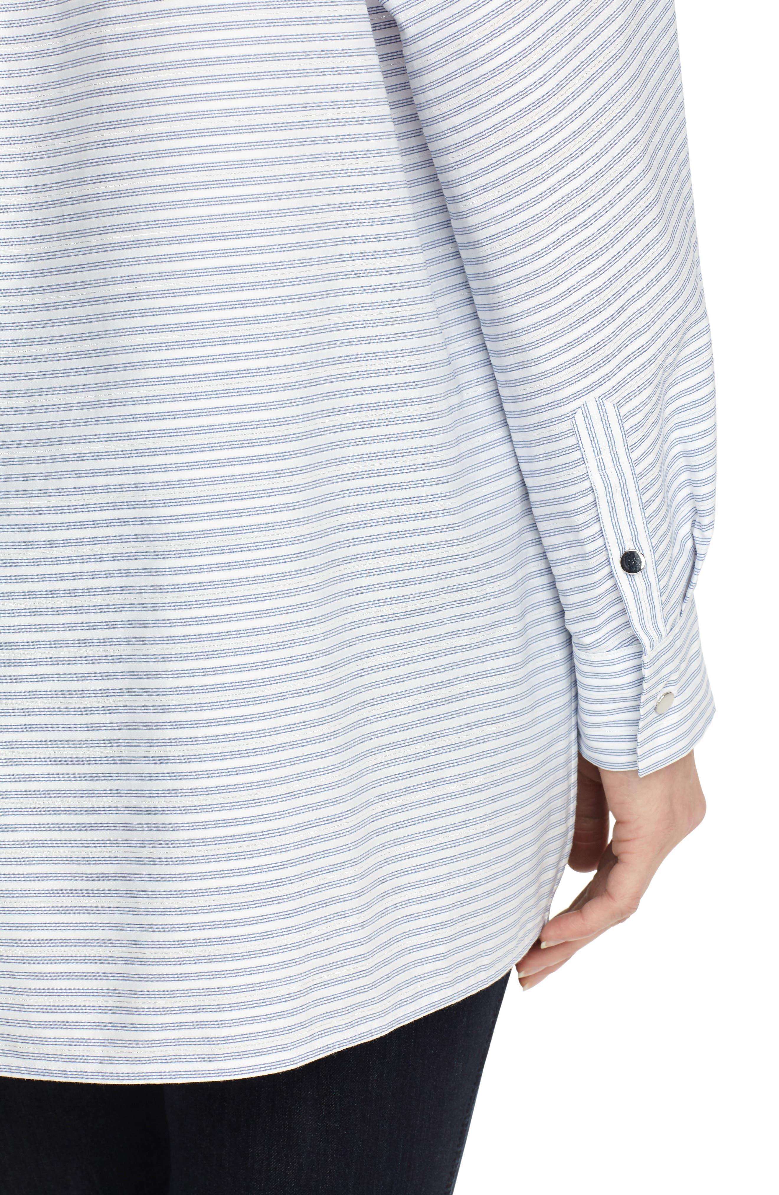 Alyssa Metallic Stripe Blouse,                             Alternate thumbnail 3, color,                             Periwinkle Multi