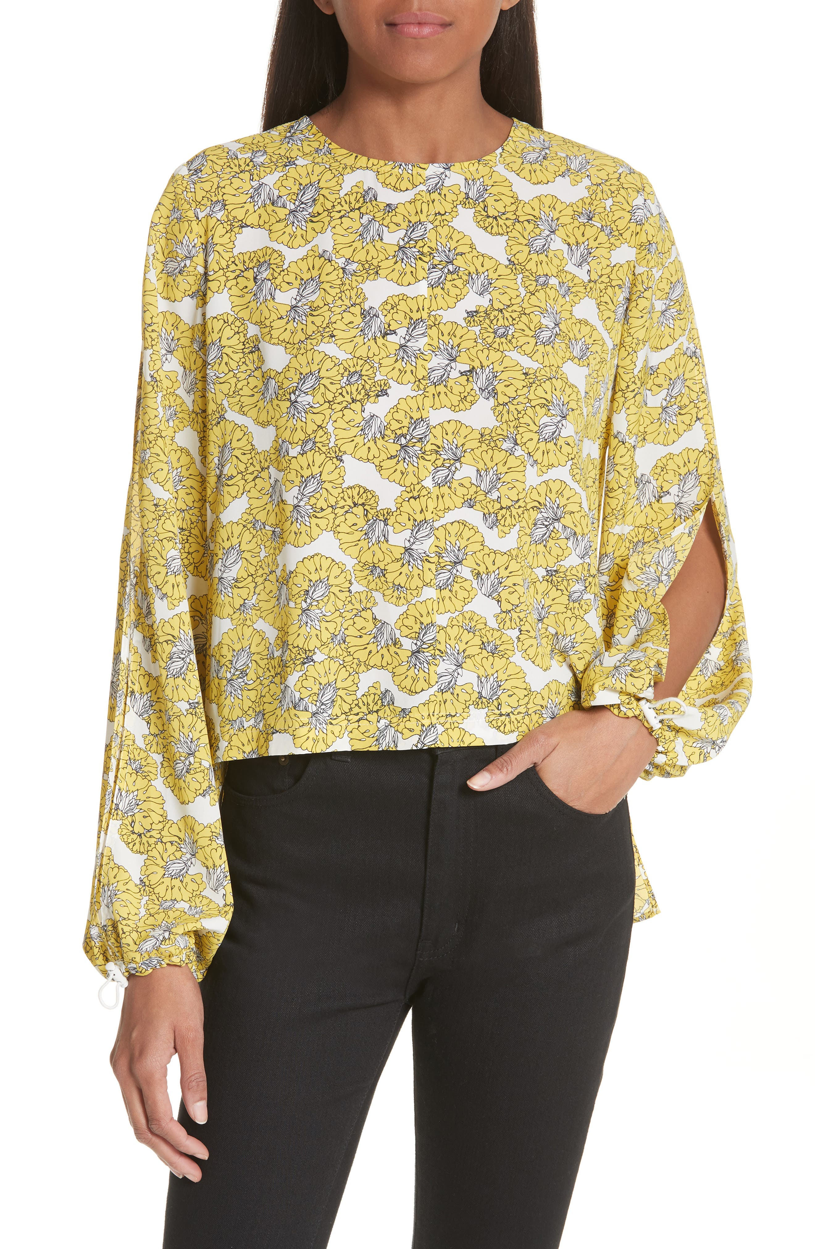 Floral Print Ruffle Back Top,                             Main thumbnail 1, color,                             Yellow Floral