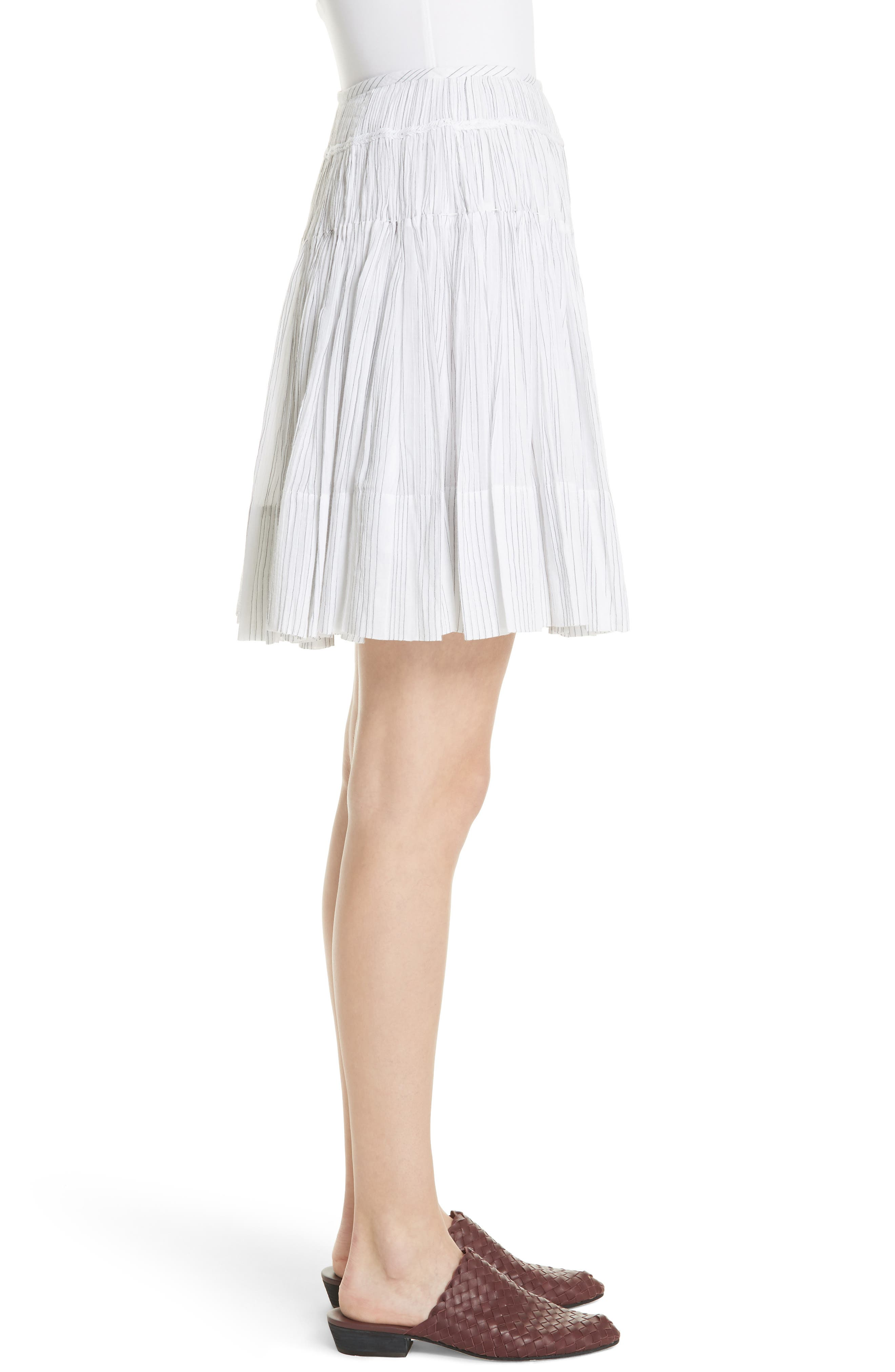Variegated Stripe Pleat Skirt,                             Alternate thumbnail 3, color,                             Optic White/ Black